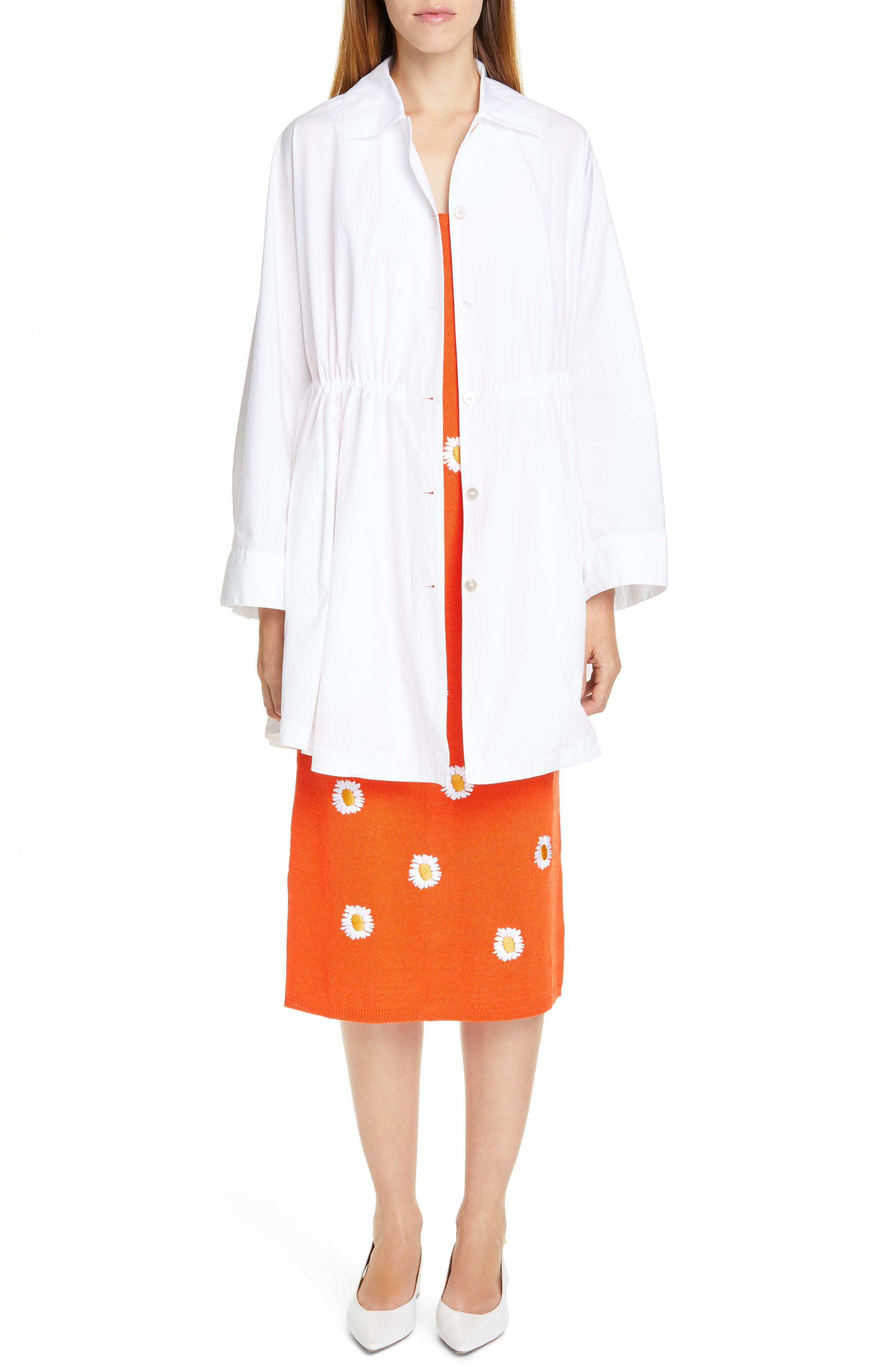 MANSUR GAVRIEL, Daisy Embroidered Midi Sweater Dress, Alternate thumbnail 8, color, ORANGE / WHITE
