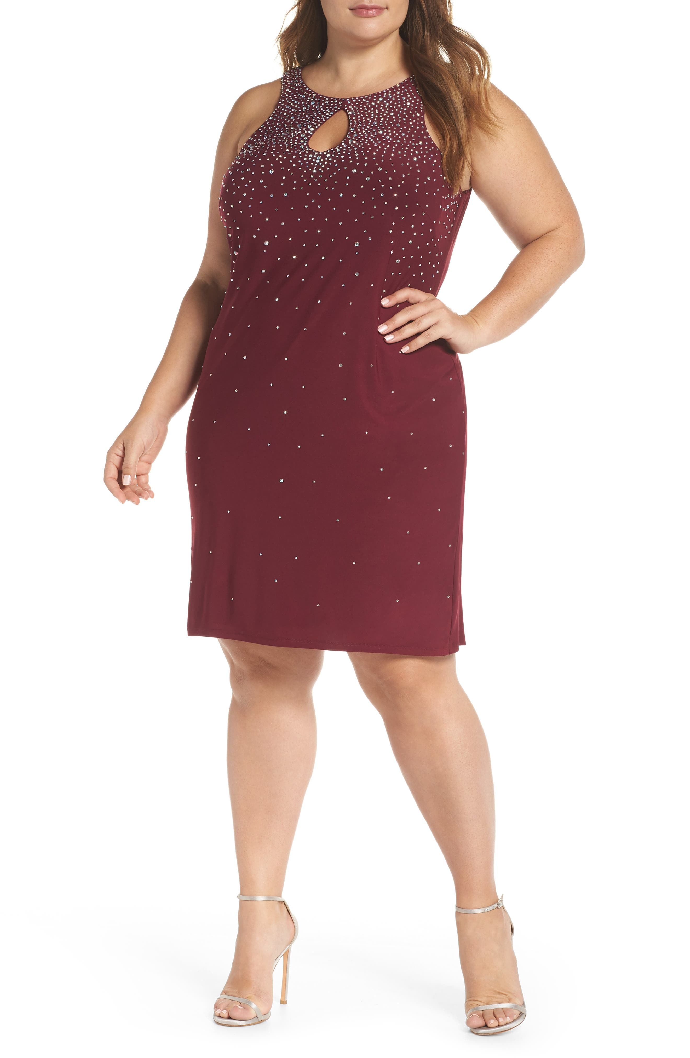 MORGAN & CO., Embellished Keyhole Neck Sheath Dress, Main thumbnail 1, color, MERLOT
