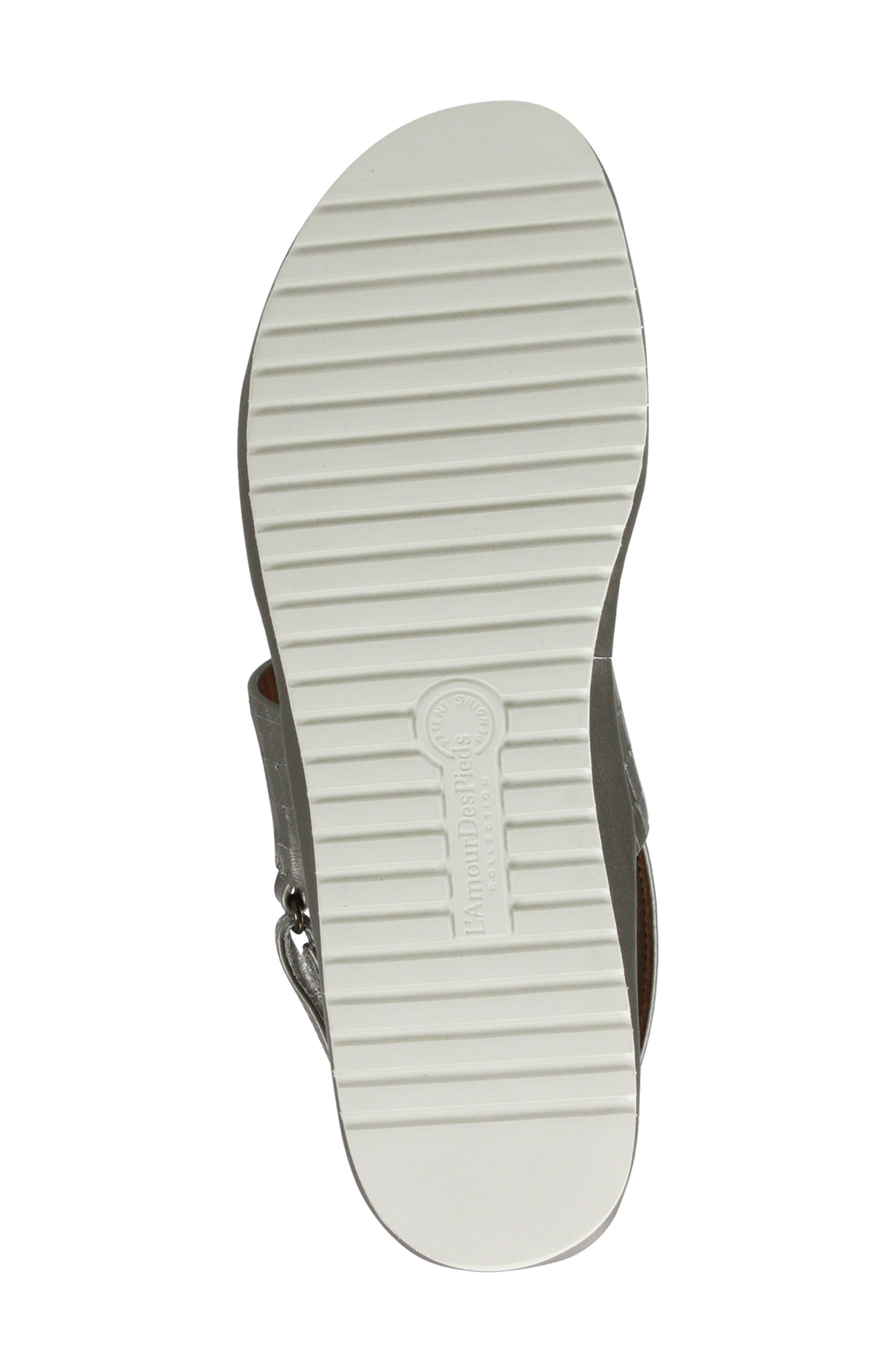 L'AMOUR DES PIEDS, Abruzzo Slingback Platform Wedge Sandal, Alternate thumbnail 5, color, PEARLIZED PLATINUM LEATHER