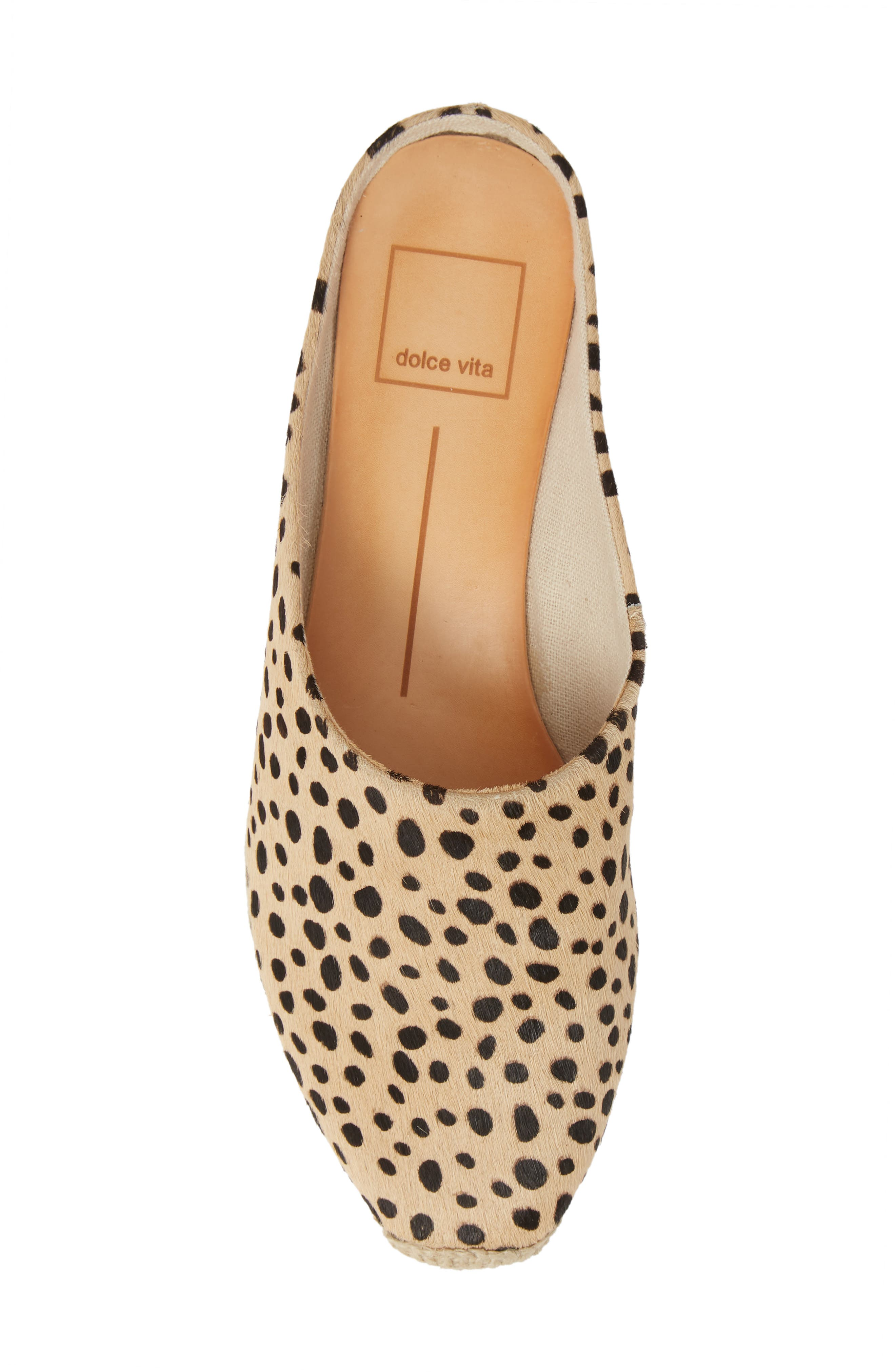 DOLCE VITA, Brandi Genuine Calf Hair Espadrille Mule, Alternate thumbnail 5, color, LEOPARD PRINT CALF HAIR