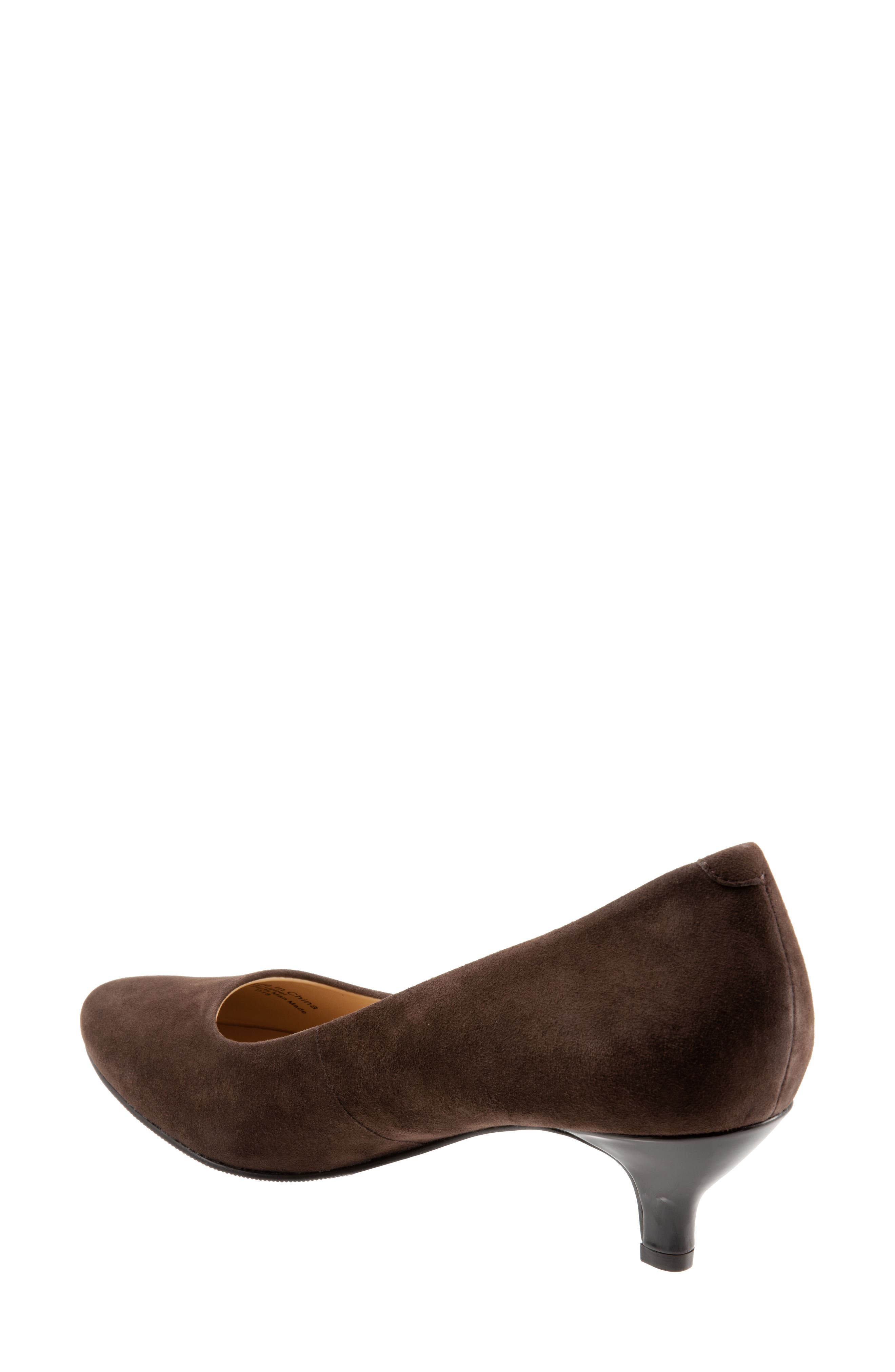 TROTTERS, Kiera Pump, Alternate thumbnail 2, color, DARK BROWN SUEDE