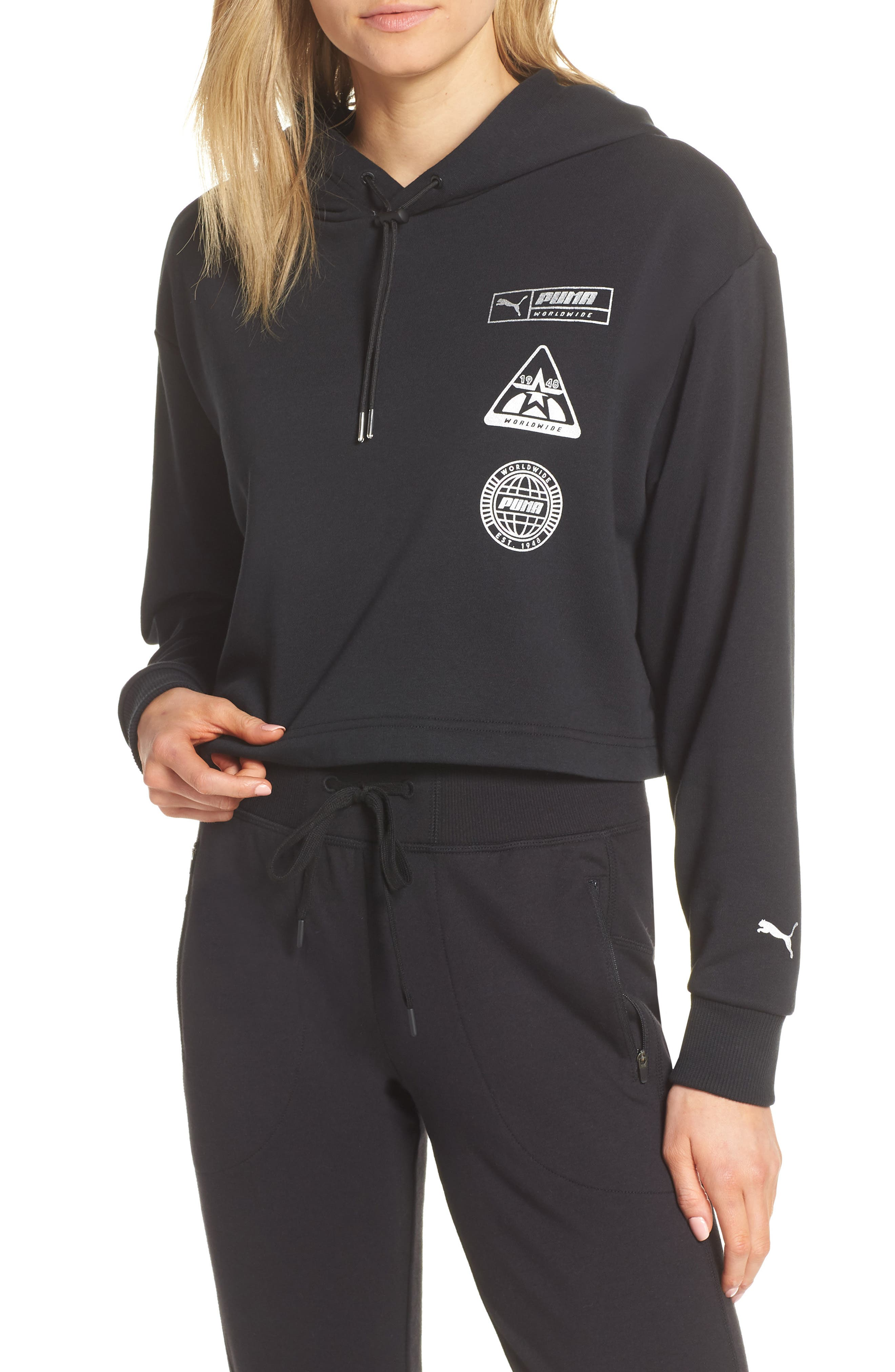 PUMA, TZ Cropped Hoodie, Main thumbnail 1, color, BLACK