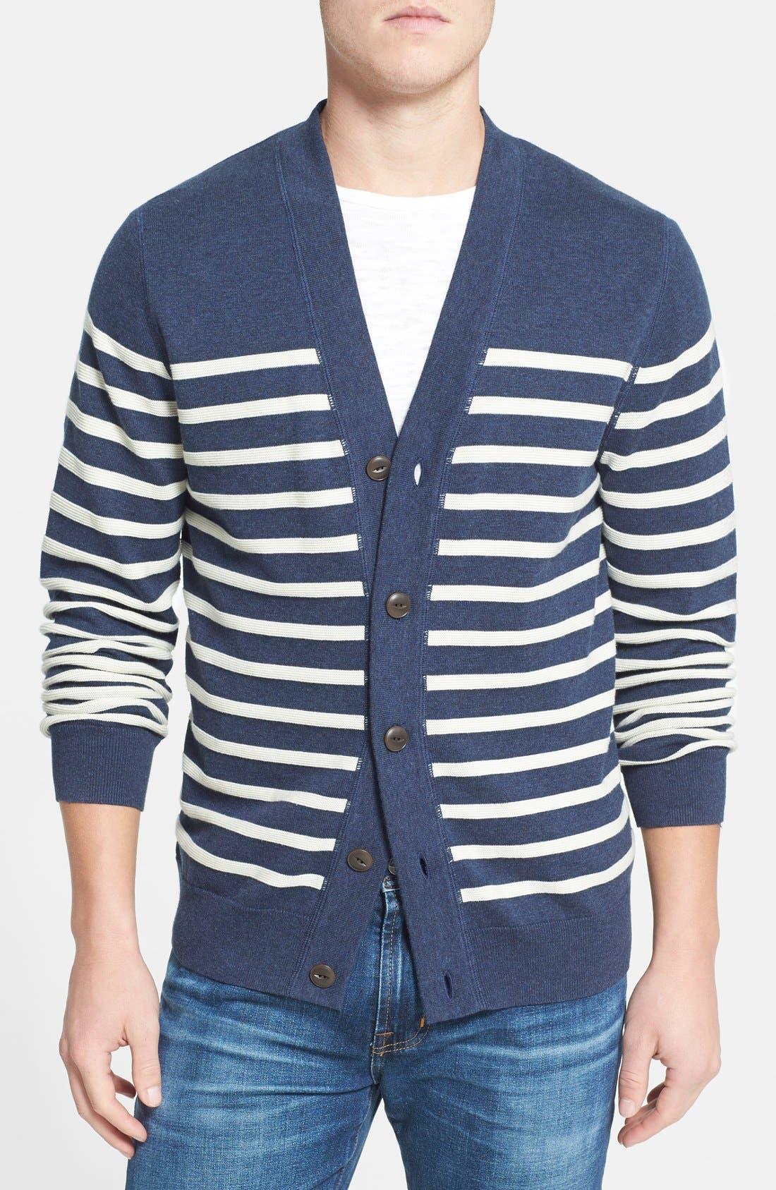 WALLIN & BROS. Ottoman Stripe Cardigan, Main, color, 410