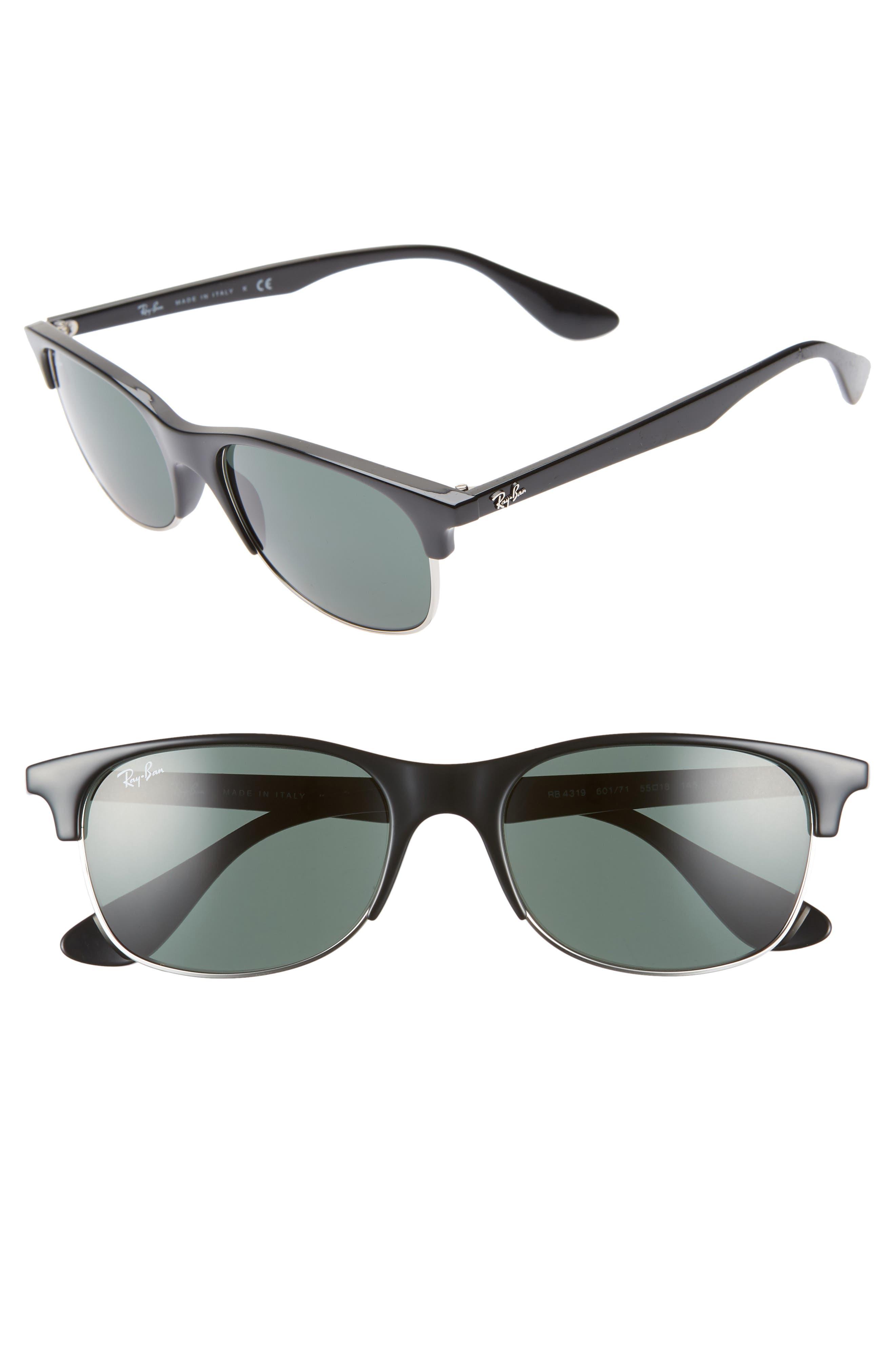RAY-BAN, 55mm Sunglasses, Main thumbnail 1, color, BLACK/ DARK GREEN SOLID