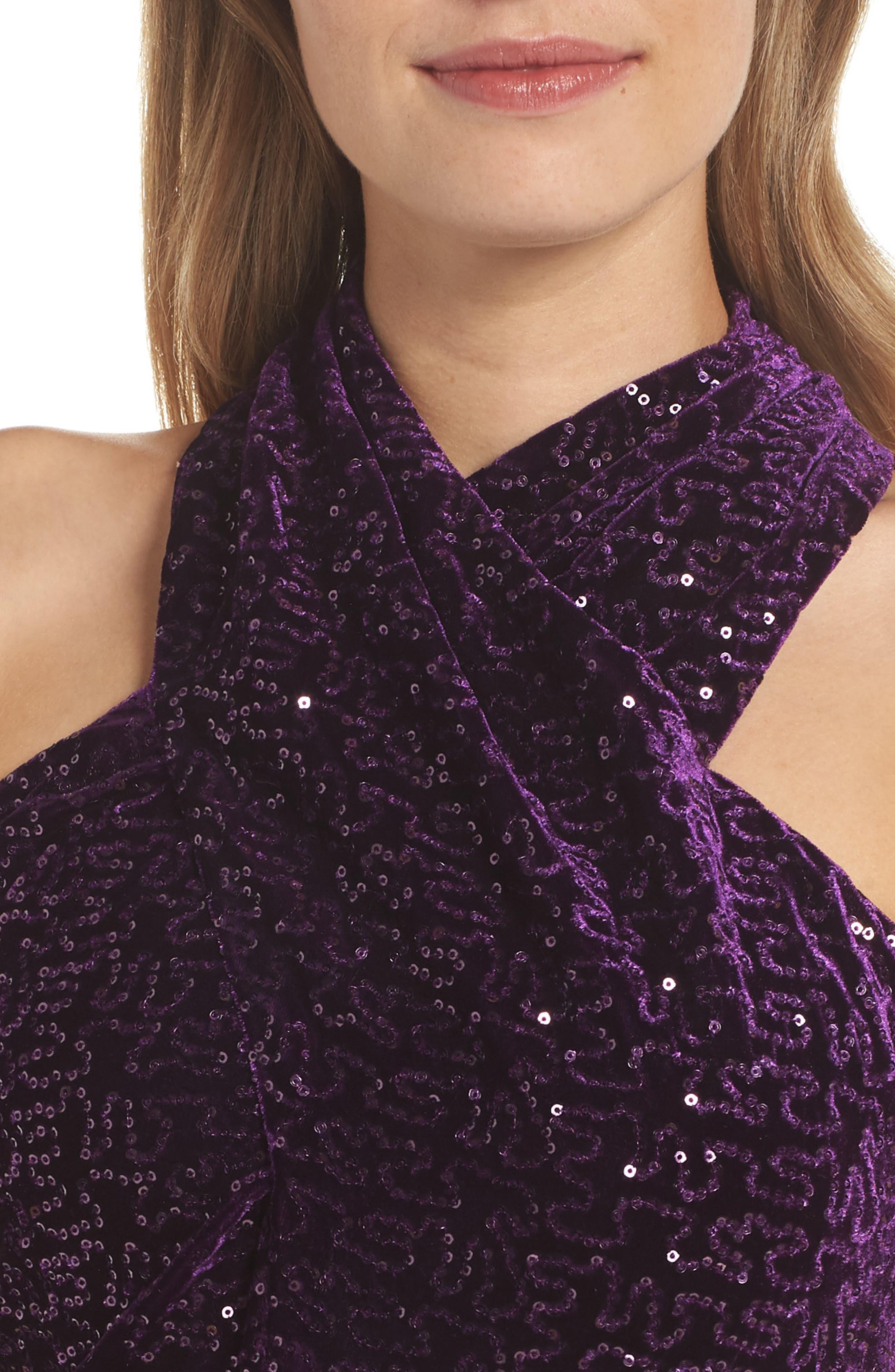ELIZA J, Halter Sheath Dress, Alternate thumbnail 5, color, PLUM