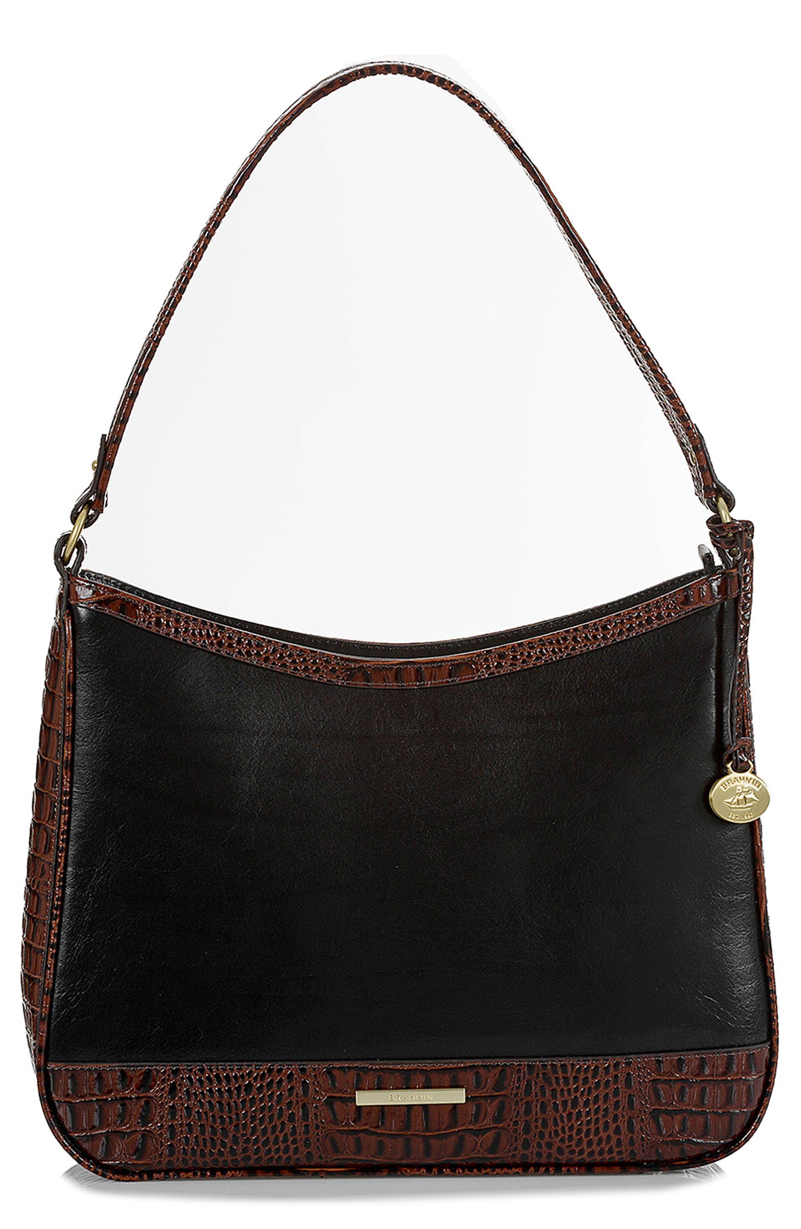 BRAHMIN, Noelle Leather Hobo Bag, Main thumbnail 1, color, 001