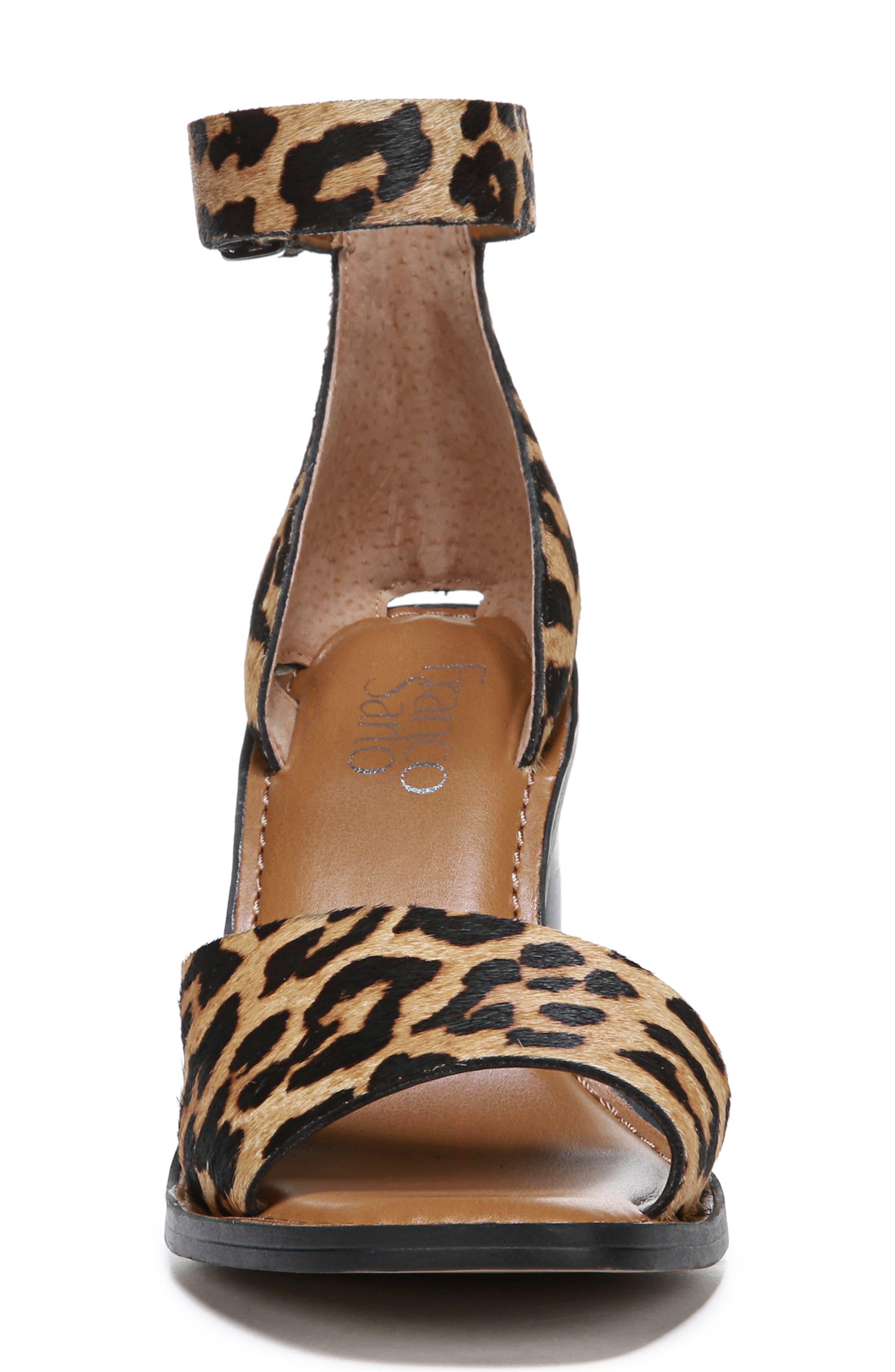 FRANCO SARTO, Caia Ankle Strap Sandal, Alternate thumbnail 4, color, BROWN CALF HAIR