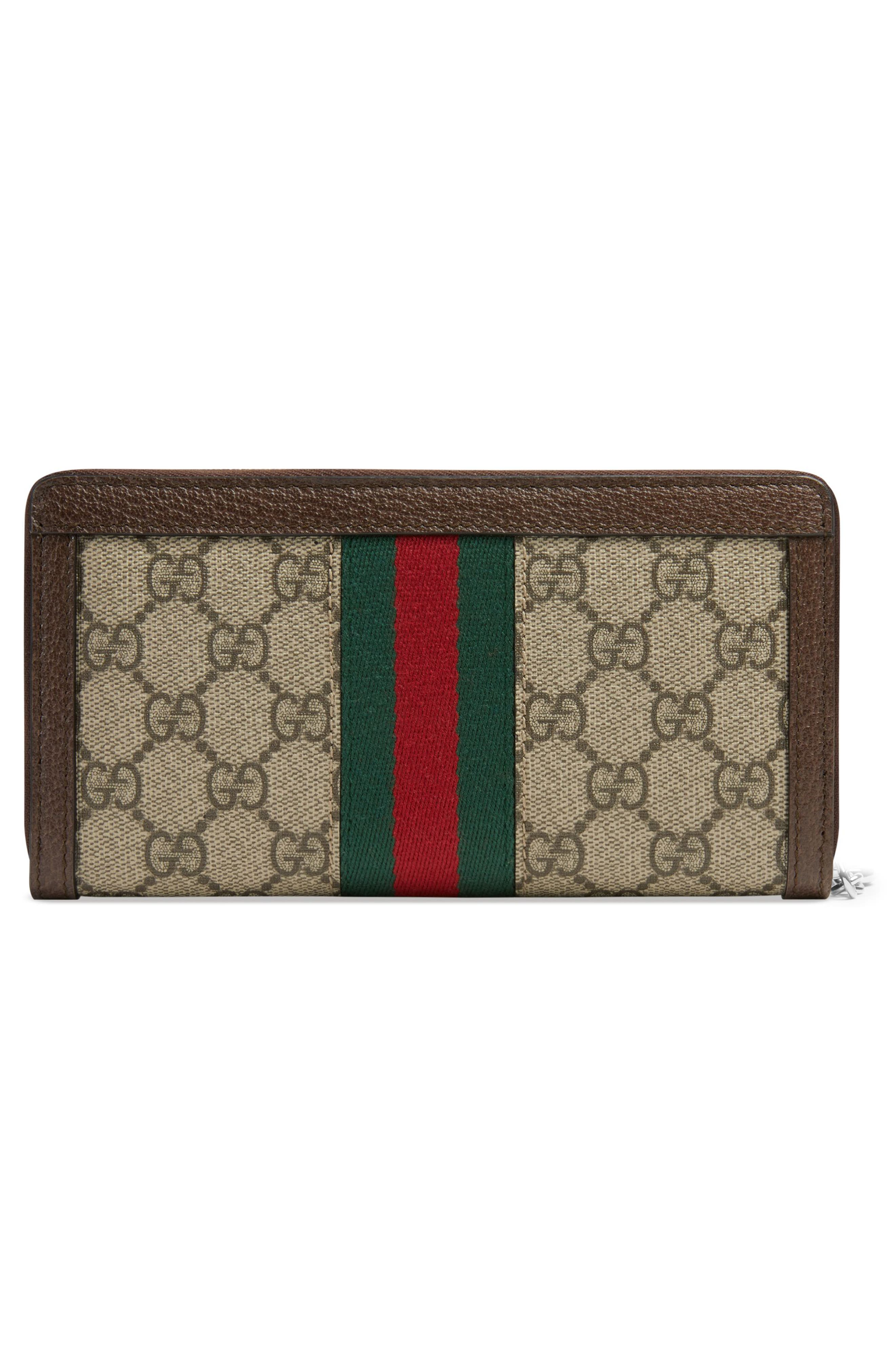 GUCCI, Ophidia GG Supreme Zip-Around Wallet, Alternate thumbnail 3, color, BEIGE EBONY/ ACERO/ VERT RED