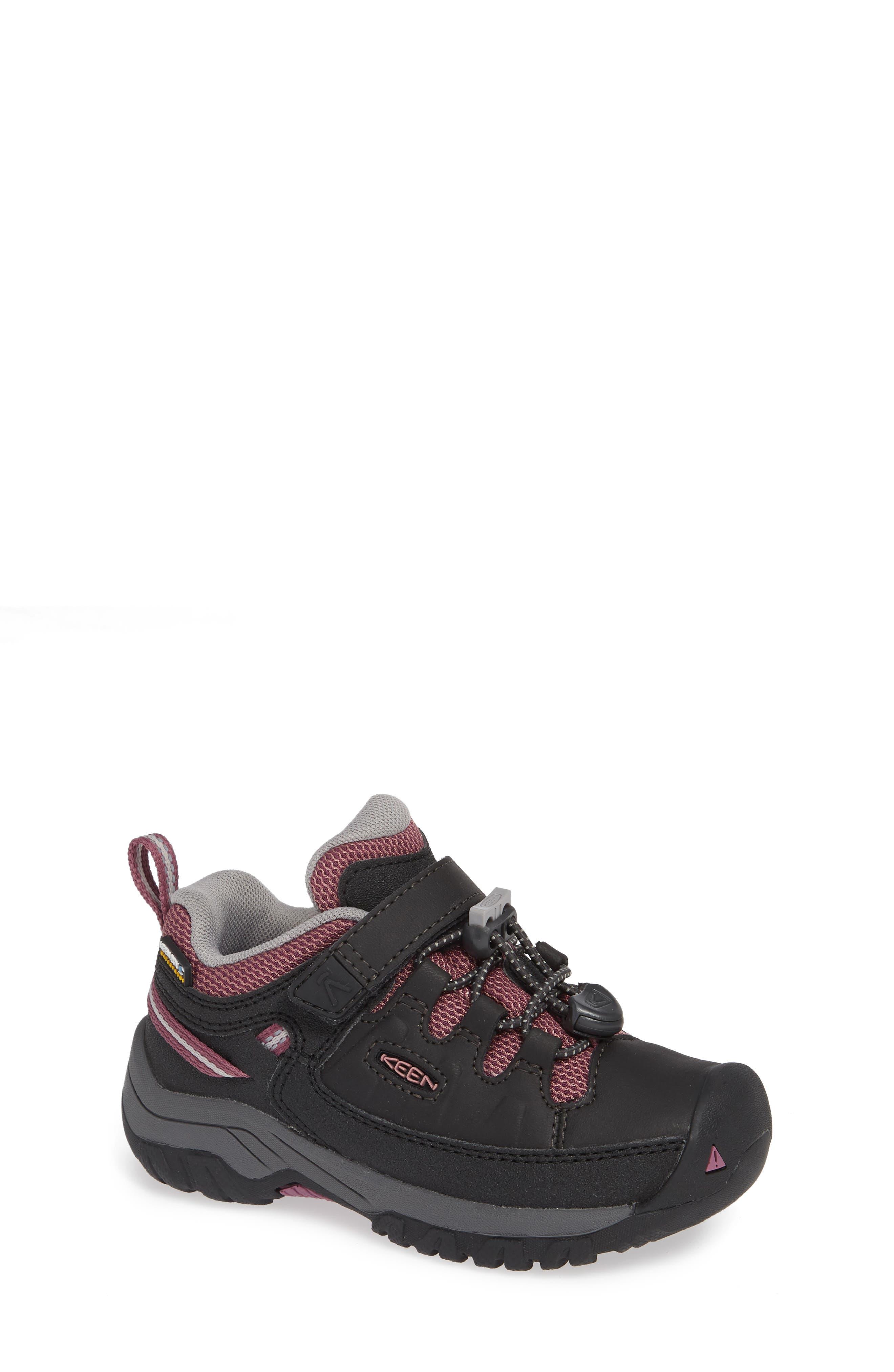 KEEN, Targhee Low Waterproof Sneaker, Main thumbnail 1, color, RAVEN/ TULIPWOOD