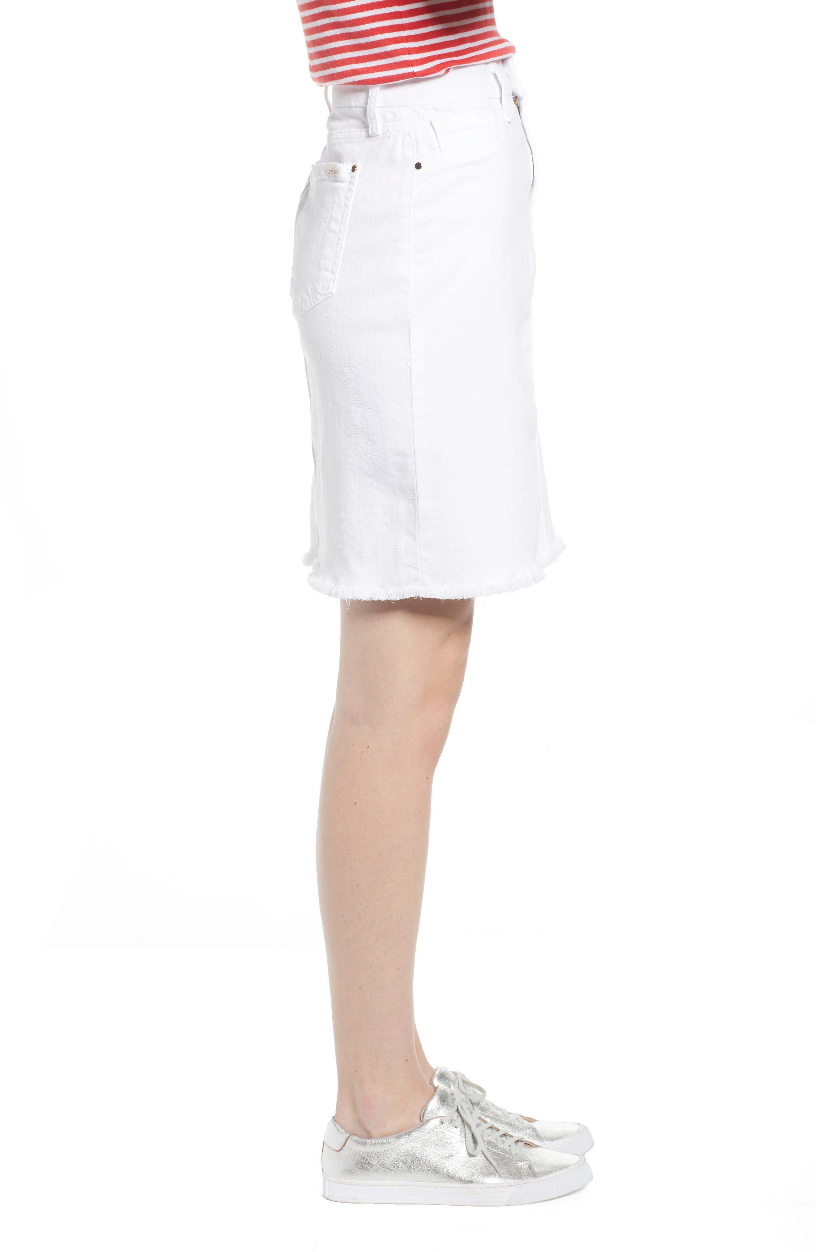 JEN7 BY 7 FOR ALL MANKIND, Frayed Hem Denim Pencil Skirt, Alternate thumbnail 4, color, WHITE