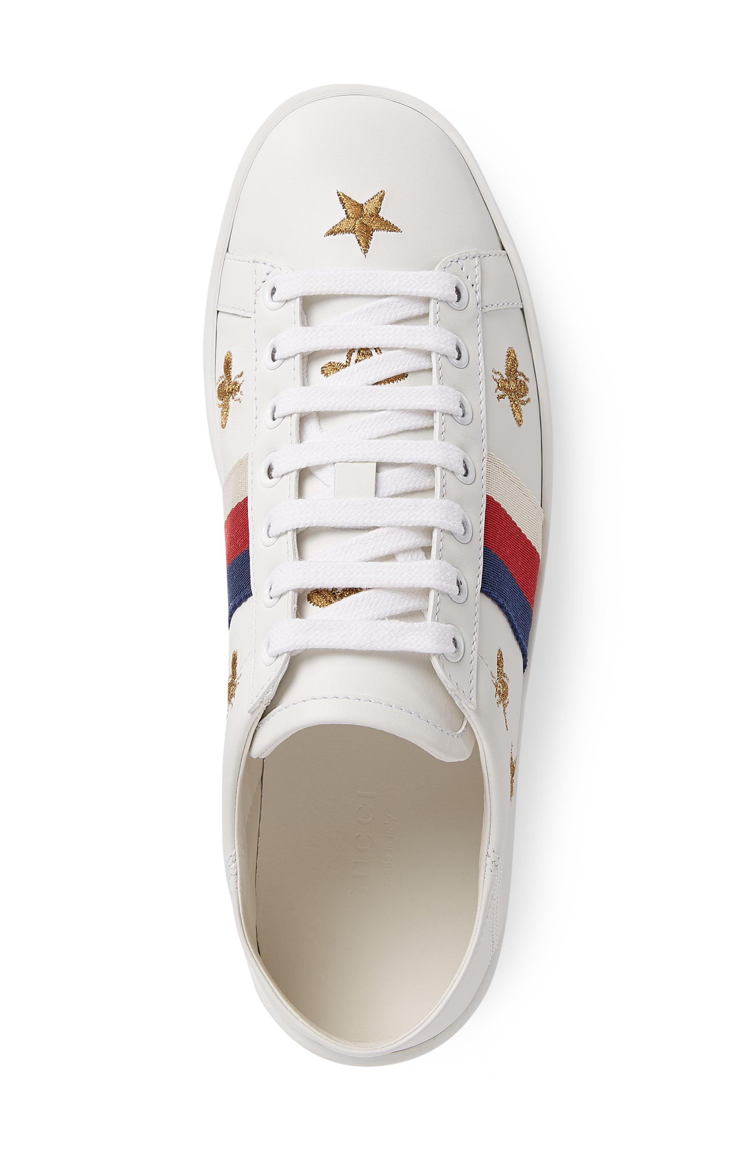 GUCCI, New Ace Convertible Heel Sneaker, Alternate thumbnail 3, color, WHITE/ BEE PRINT