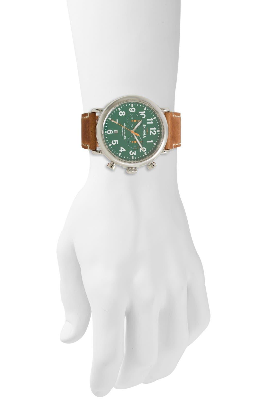SHINOLA, The Runwell Chrono Leather Strap Watch, 47mm, Alternate thumbnail 2, color, DARK BROWN/ BLUE