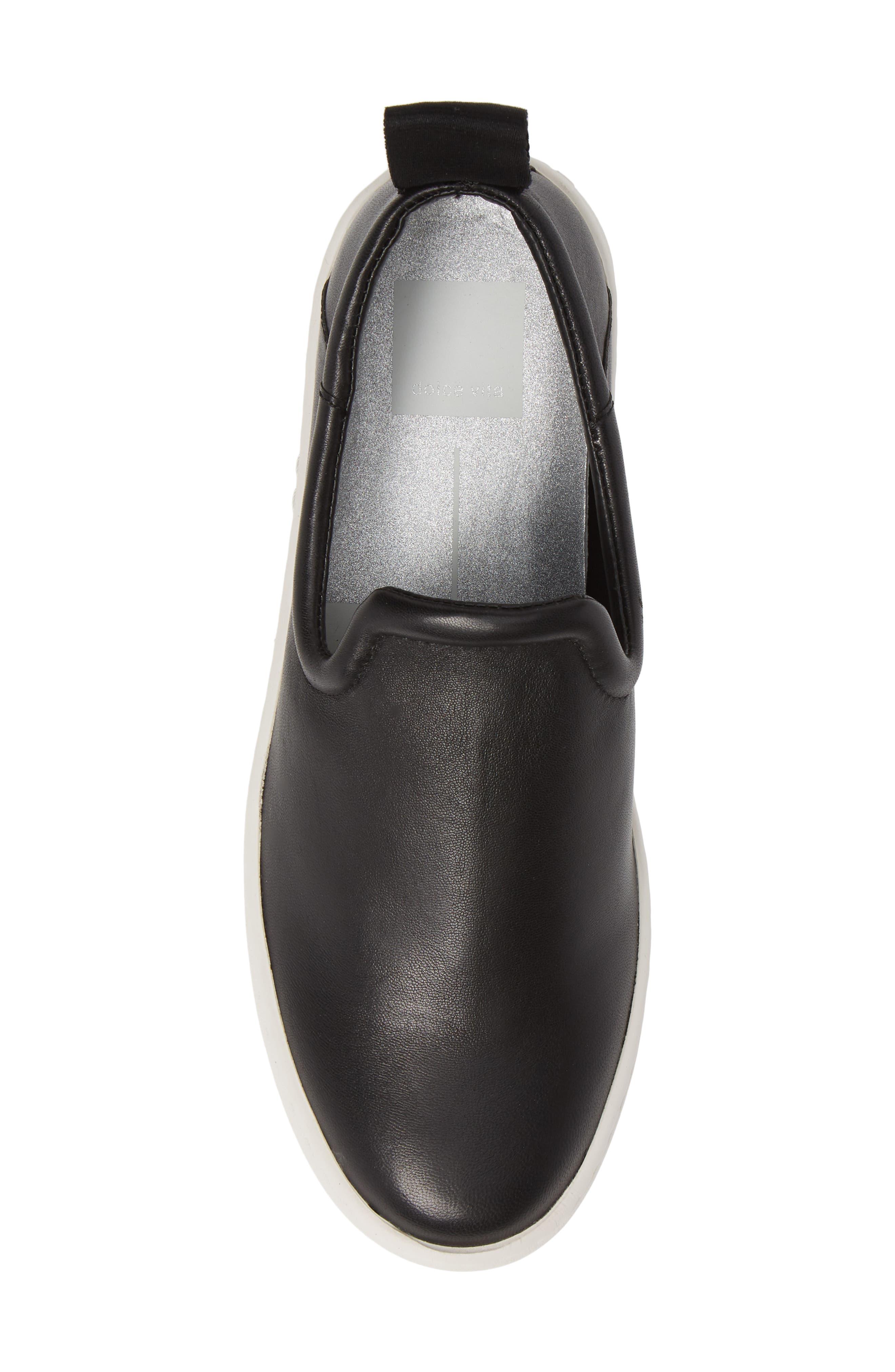 DOLCE VITA, Tag Slip-On Sneaker, Alternate thumbnail 5, color, BLACK LEATHER