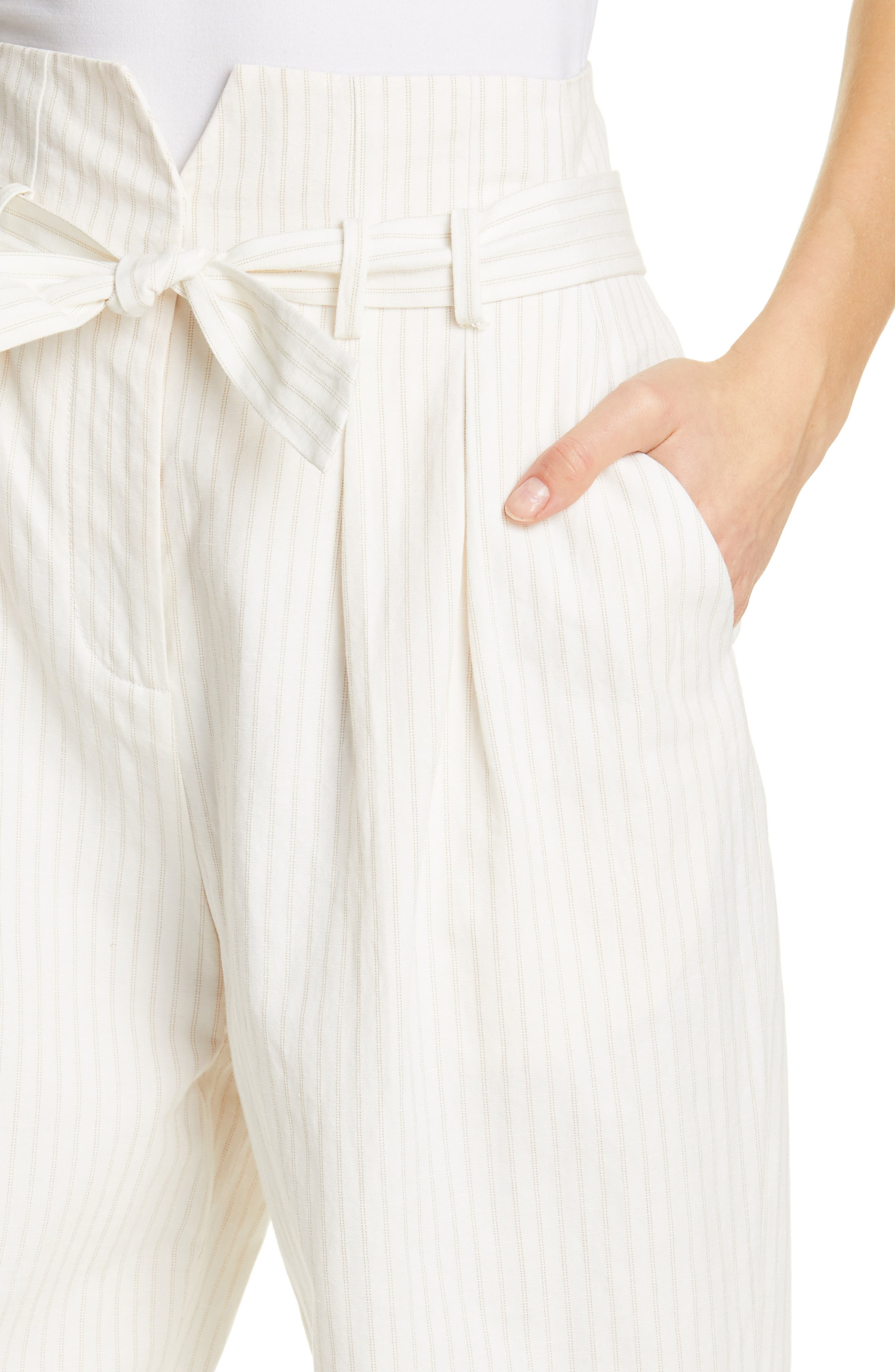 REBECCA TAYLOR, Pinstripe Belted Wide Leg Pants, Alternate thumbnail 5, color, SNOW COMBO
