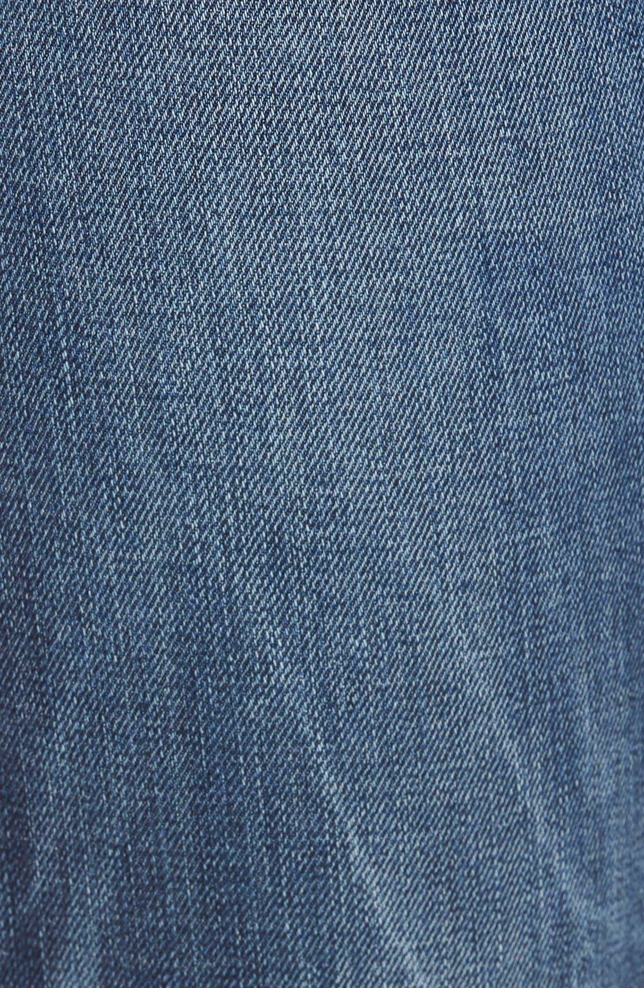 GOOD AMERICAN, High Waist Denim Bermuda Shorts, Alternate thumbnail 5, color, 402