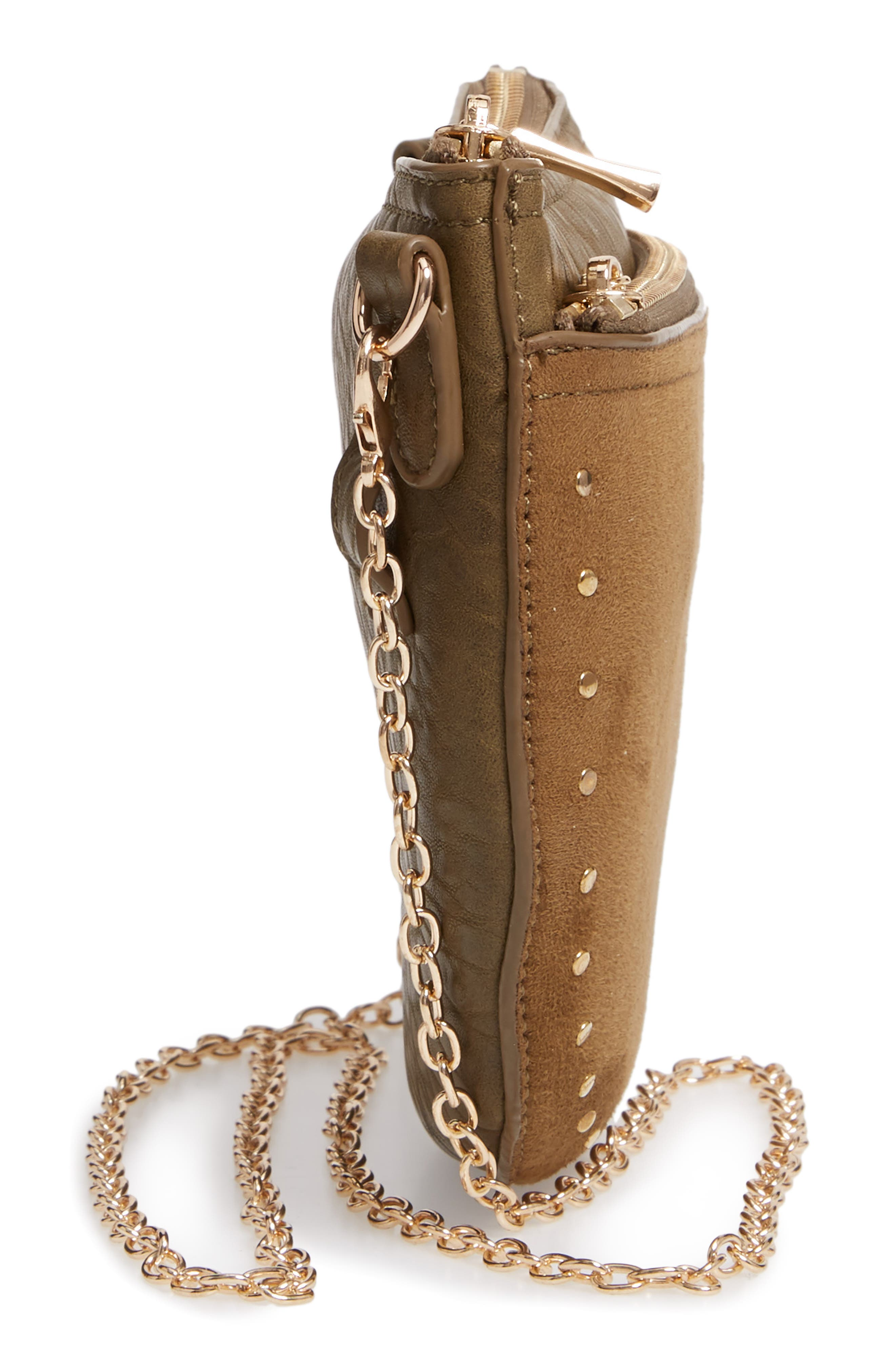 SOLE SOCIETY, Jeana Studded Convertible Belt Bag, Alternate thumbnail 7, color, OLIVE