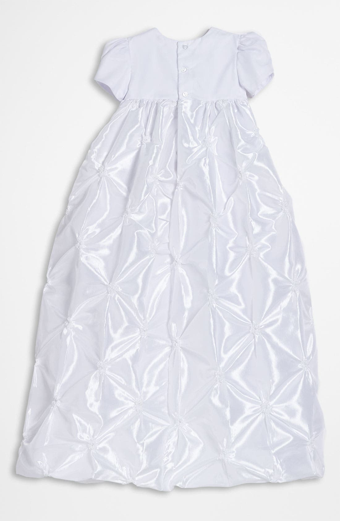 LITTLE THINGS MEAN A LOT, Taffeta Gown & Bonnet, Alternate thumbnail 2, color, WHITE