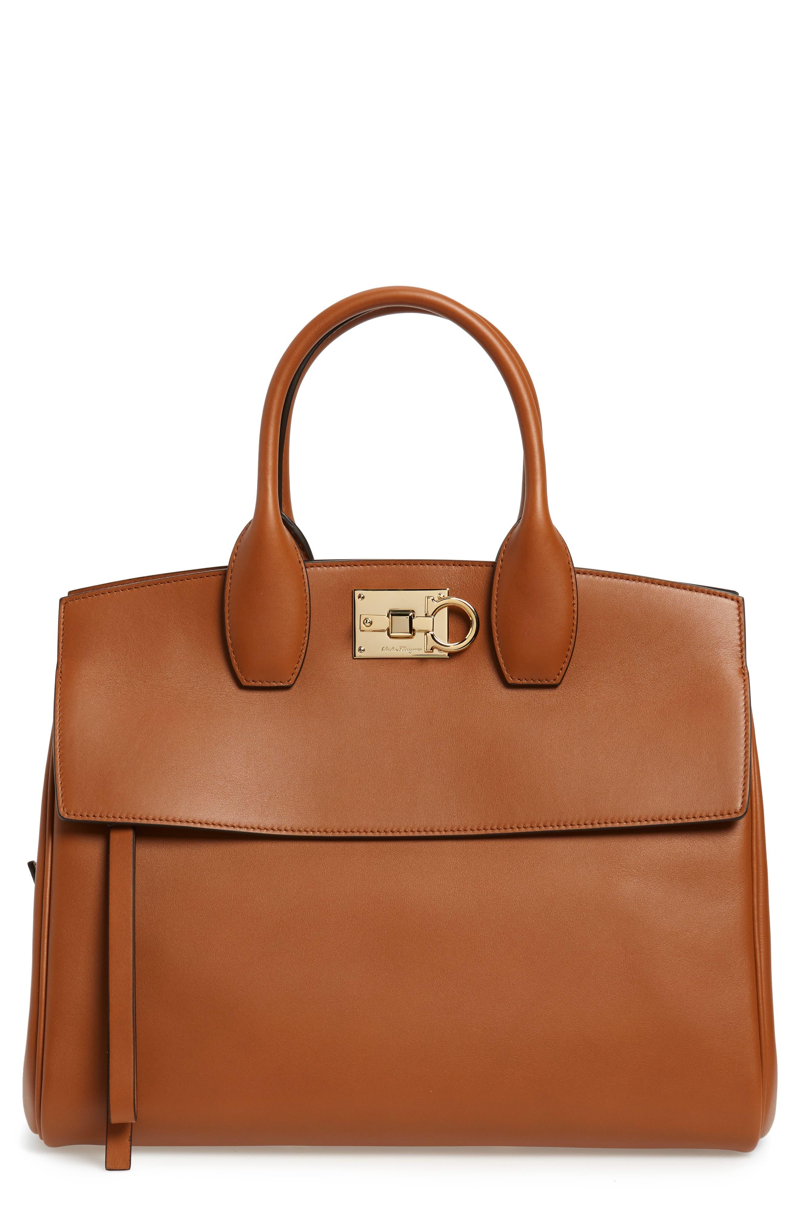 SALVATORE FERRAGAMO, Medium The Studio Calfskin Leather Top Handle Bag, Main thumbnail 1, color, SELLA