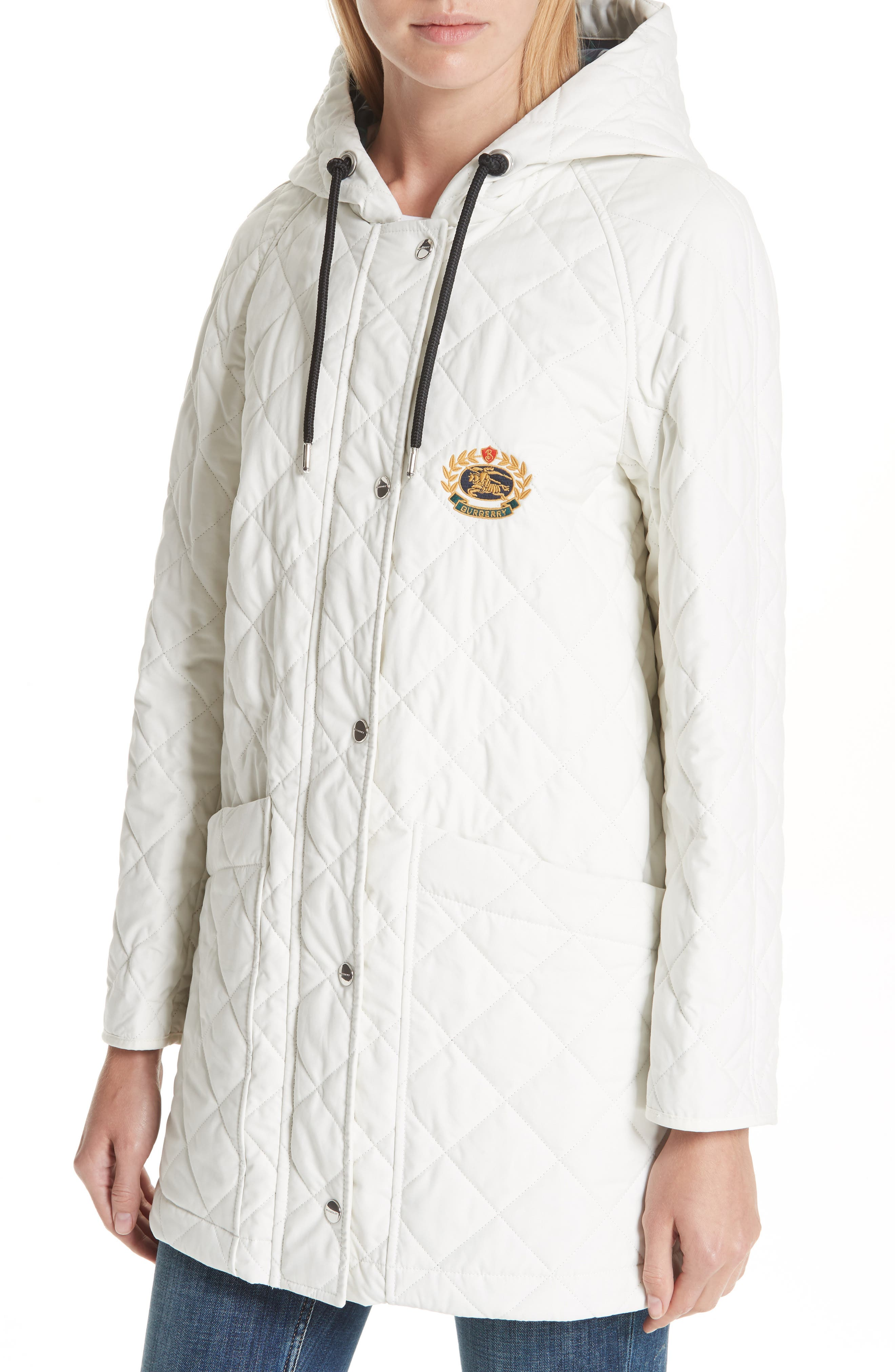 BURBERRY, Roxwell Embroidered Archive Logo Quilted Coat, Alternate thumbnail 4, color, 100