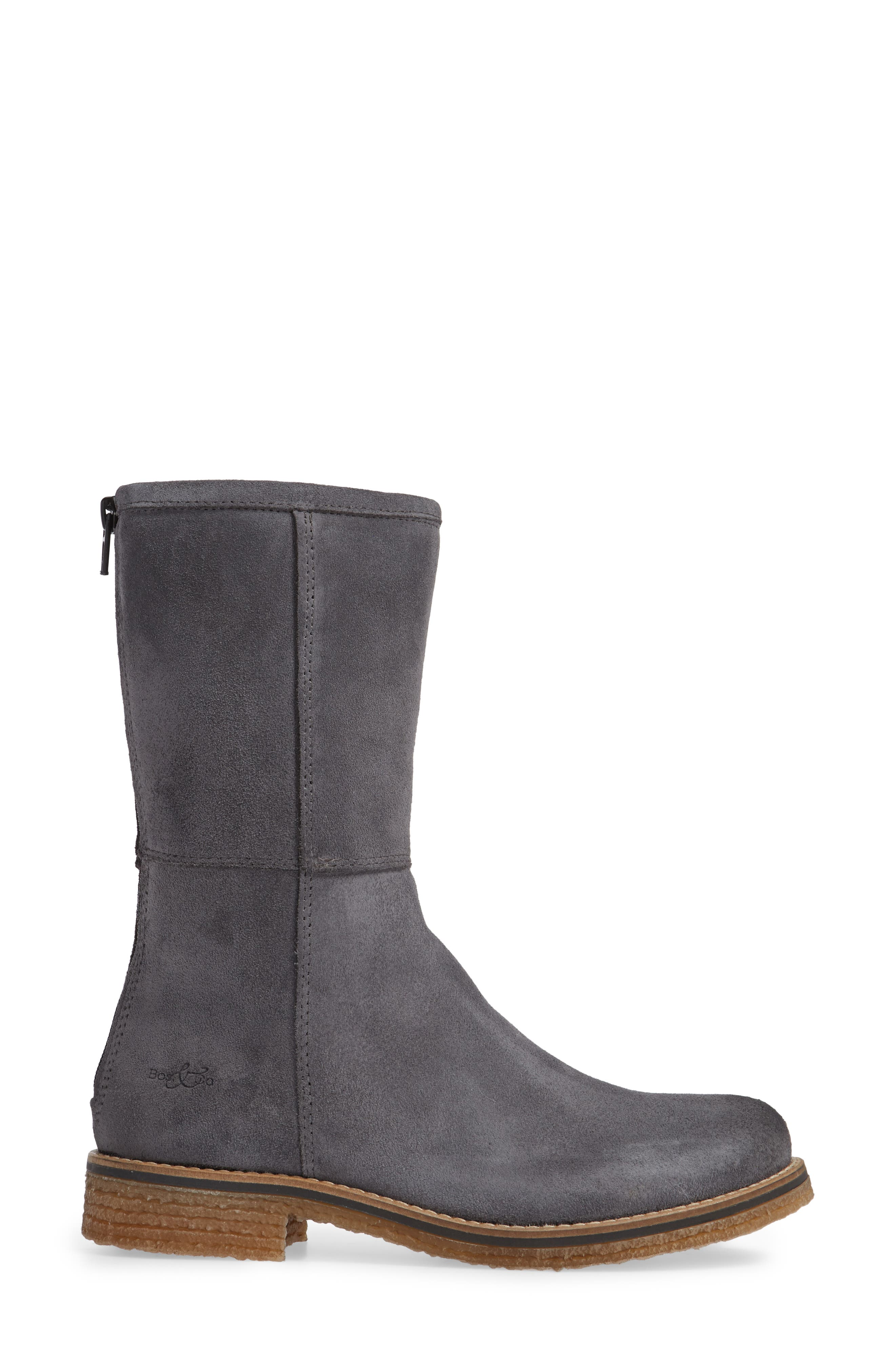 BOS. & CO., Bell Waterproof Winter Boot, Alternate thumbnail 3, color, GREY SUEDE