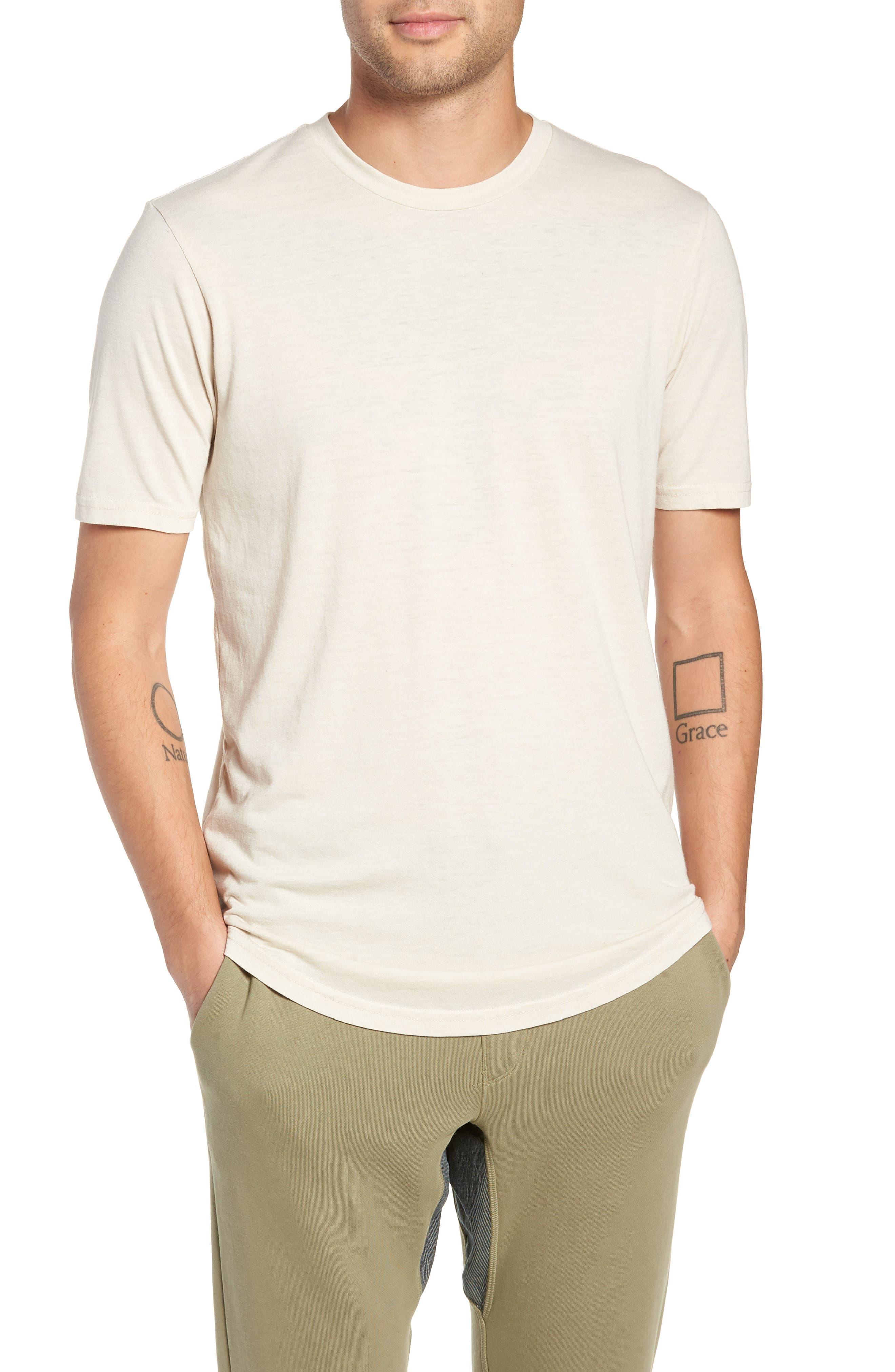 GOODLIFE, Scallop Triblend Crewneck T-Shirt, Main thumbnail 1, color, OYSTER
