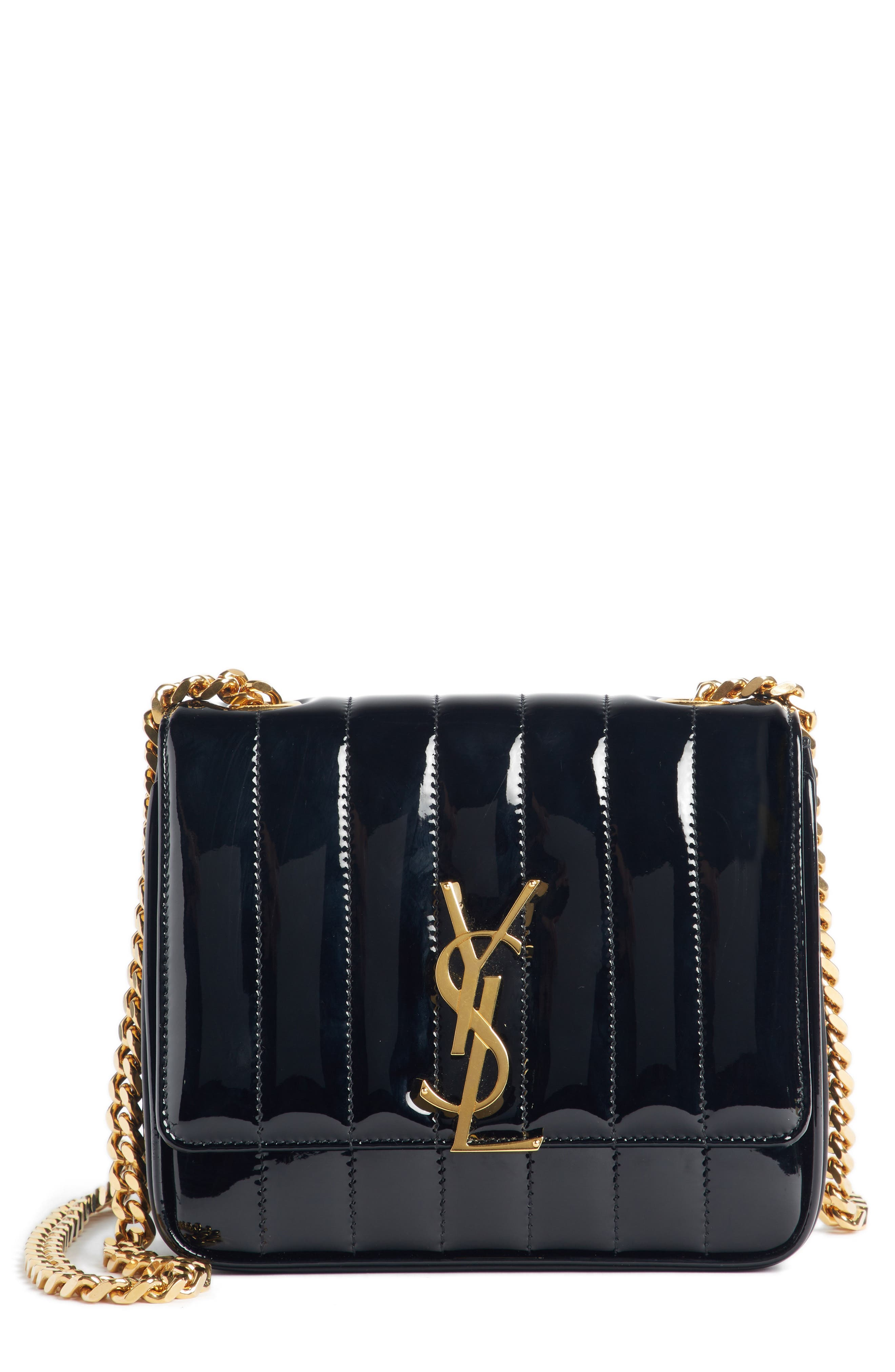 SAINT LAURENT, Small Vicky Patent Leather Crossbody Bag, Main thumbnail 1, color, NOIR