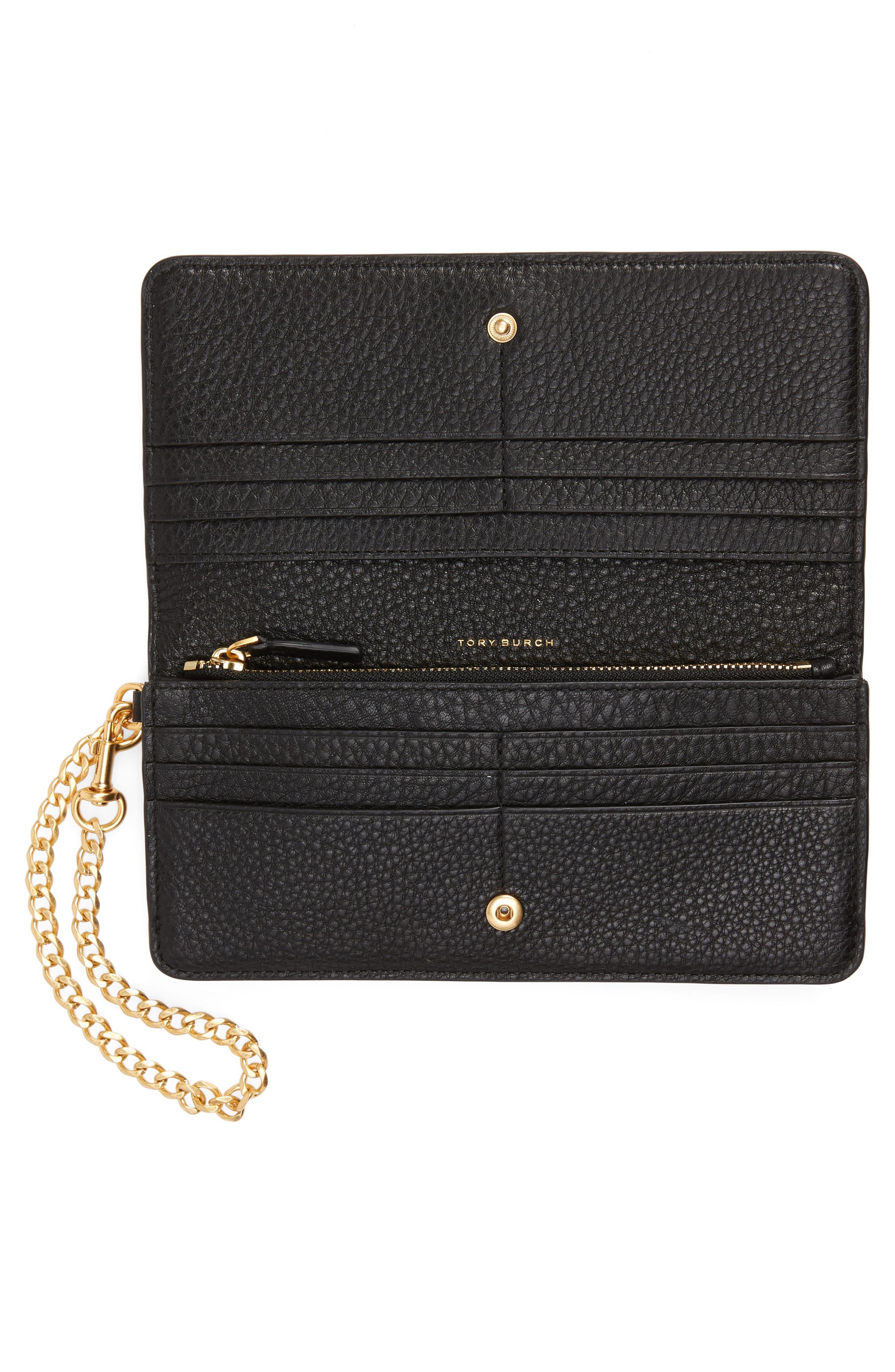 TORY BURCH, Chelsea Leather Wristlet Wallet, Alternate thumbnail 2, color, 001