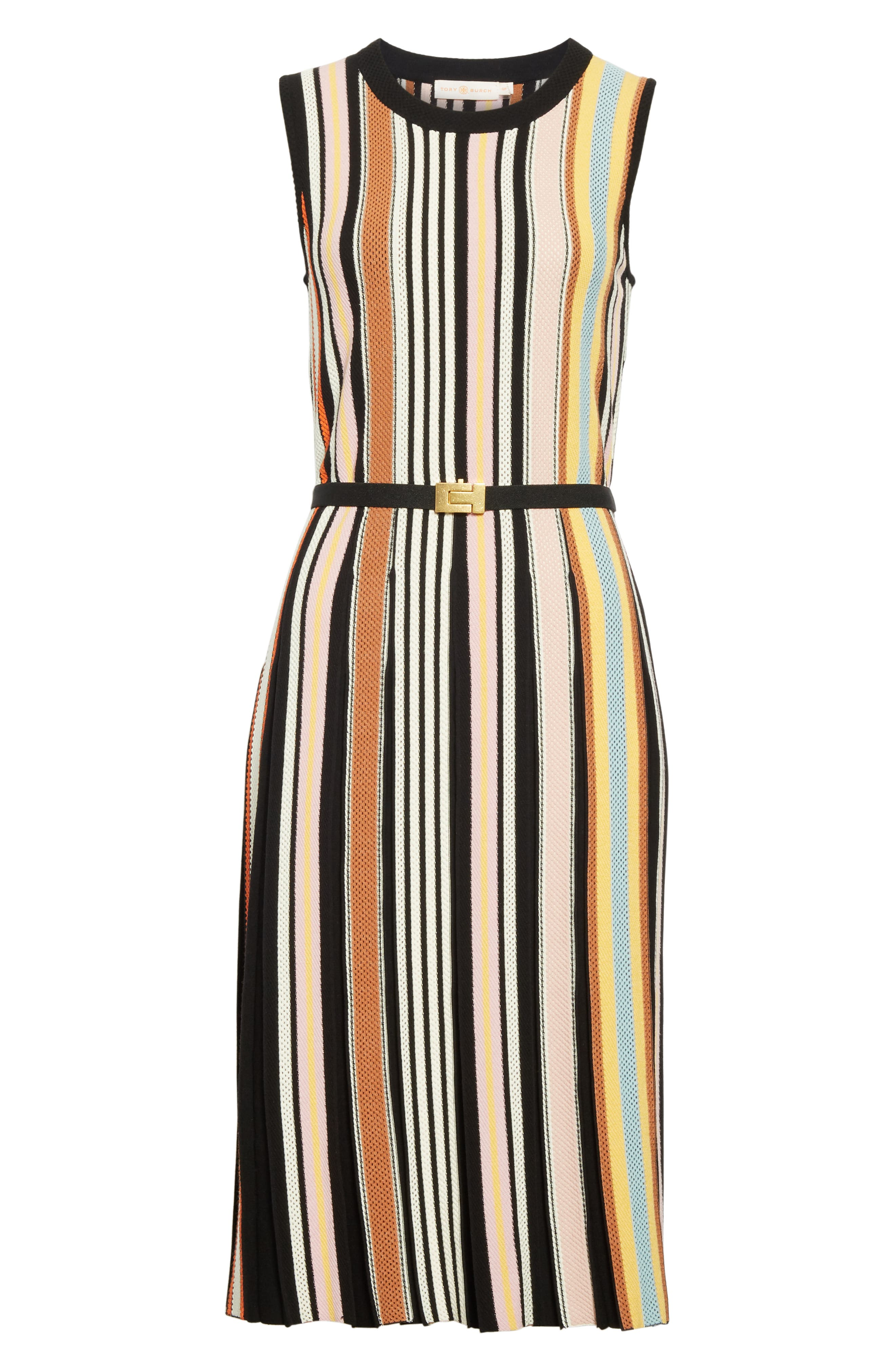 TORY BURCH, Stripe Sweater Dress, Alternate thumbnail 6, color, WEBBING STRIPE