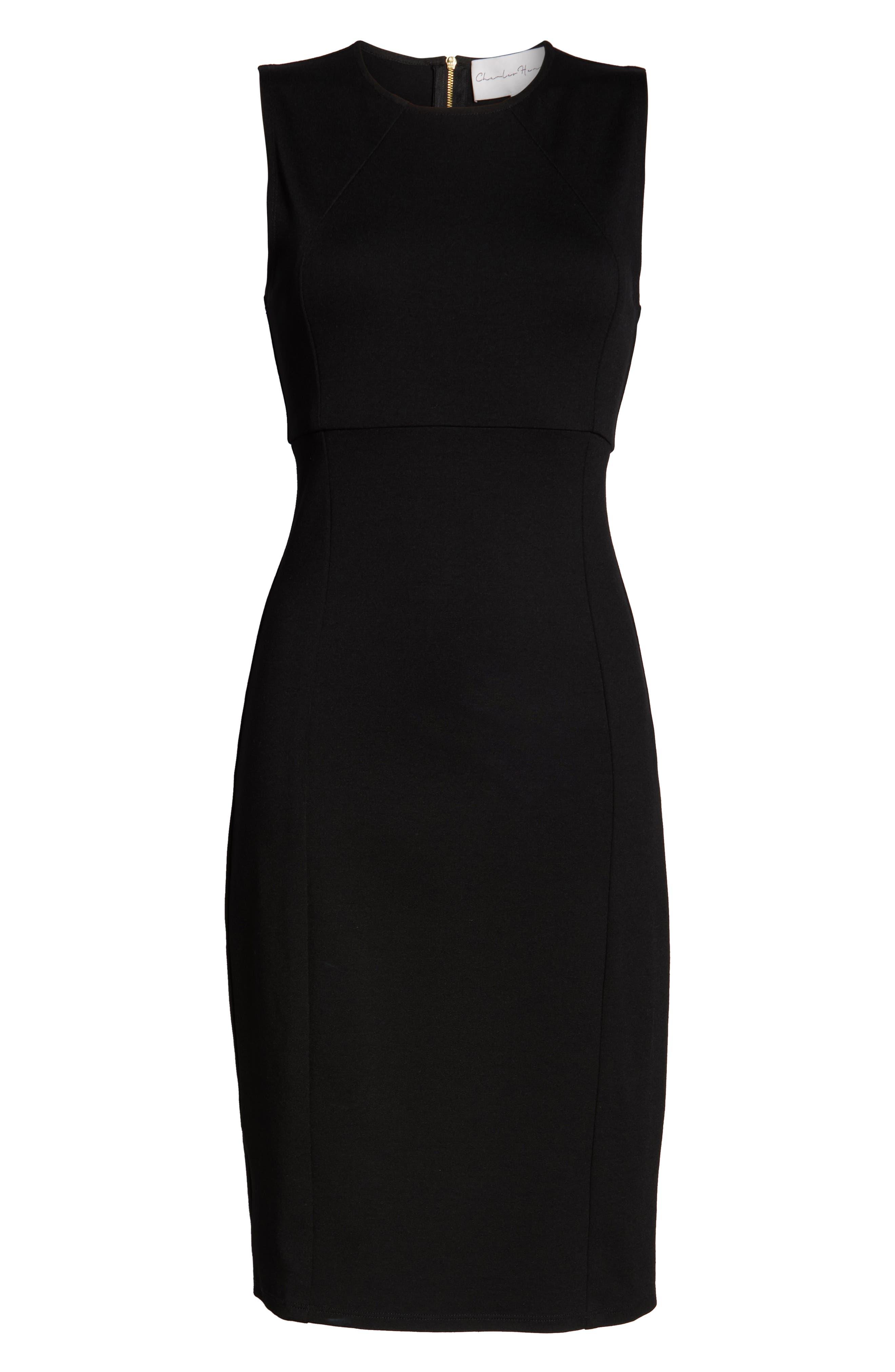 CHARLES HENRY, Sleeveless Sheath Dress, Alternate thumbnail 7, color, BLACK