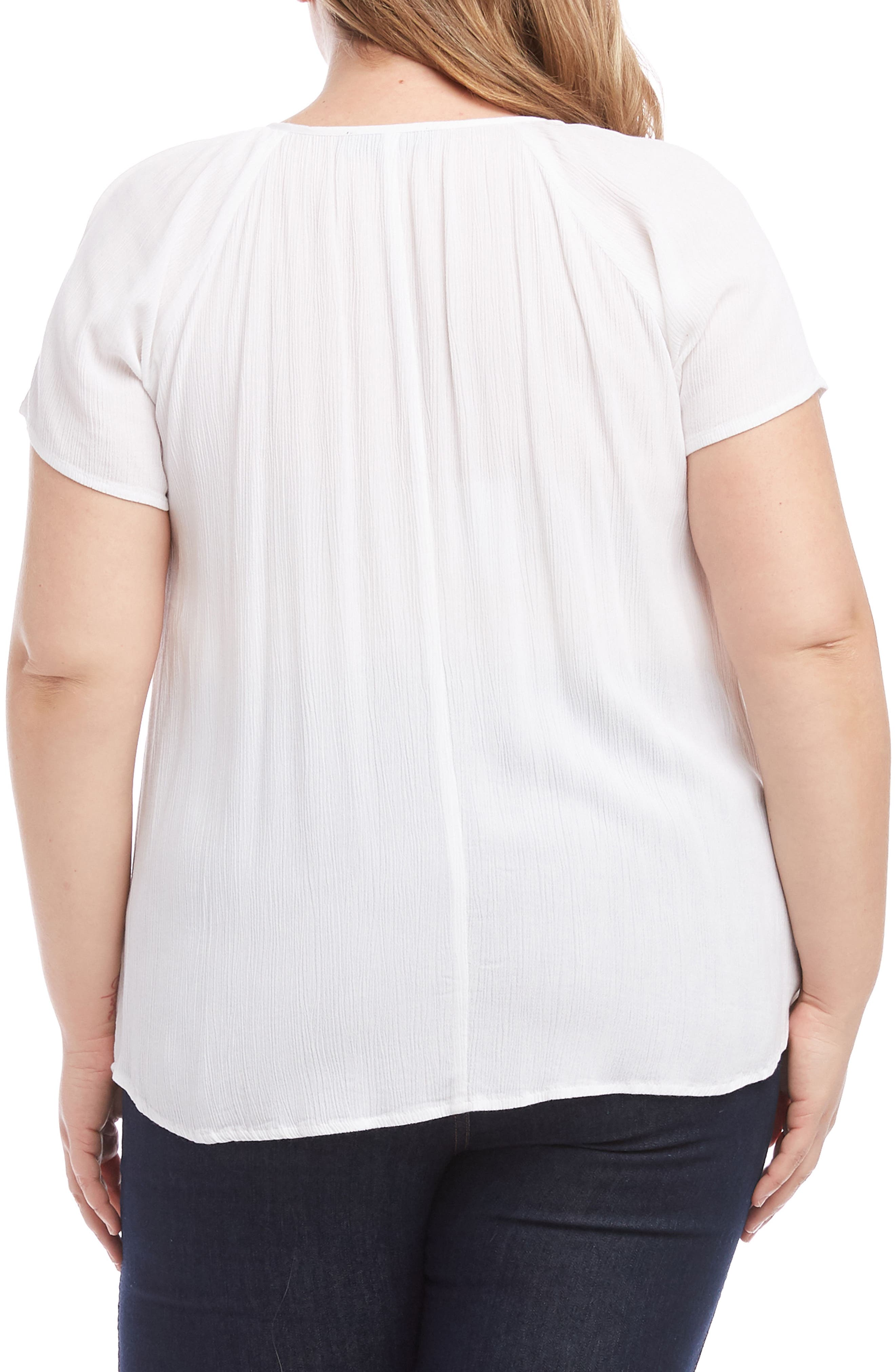 KAREN KANE, Embroidered Peasant Top, Alternate thumbnail 2, color, OFF WHITE WITH BLACK