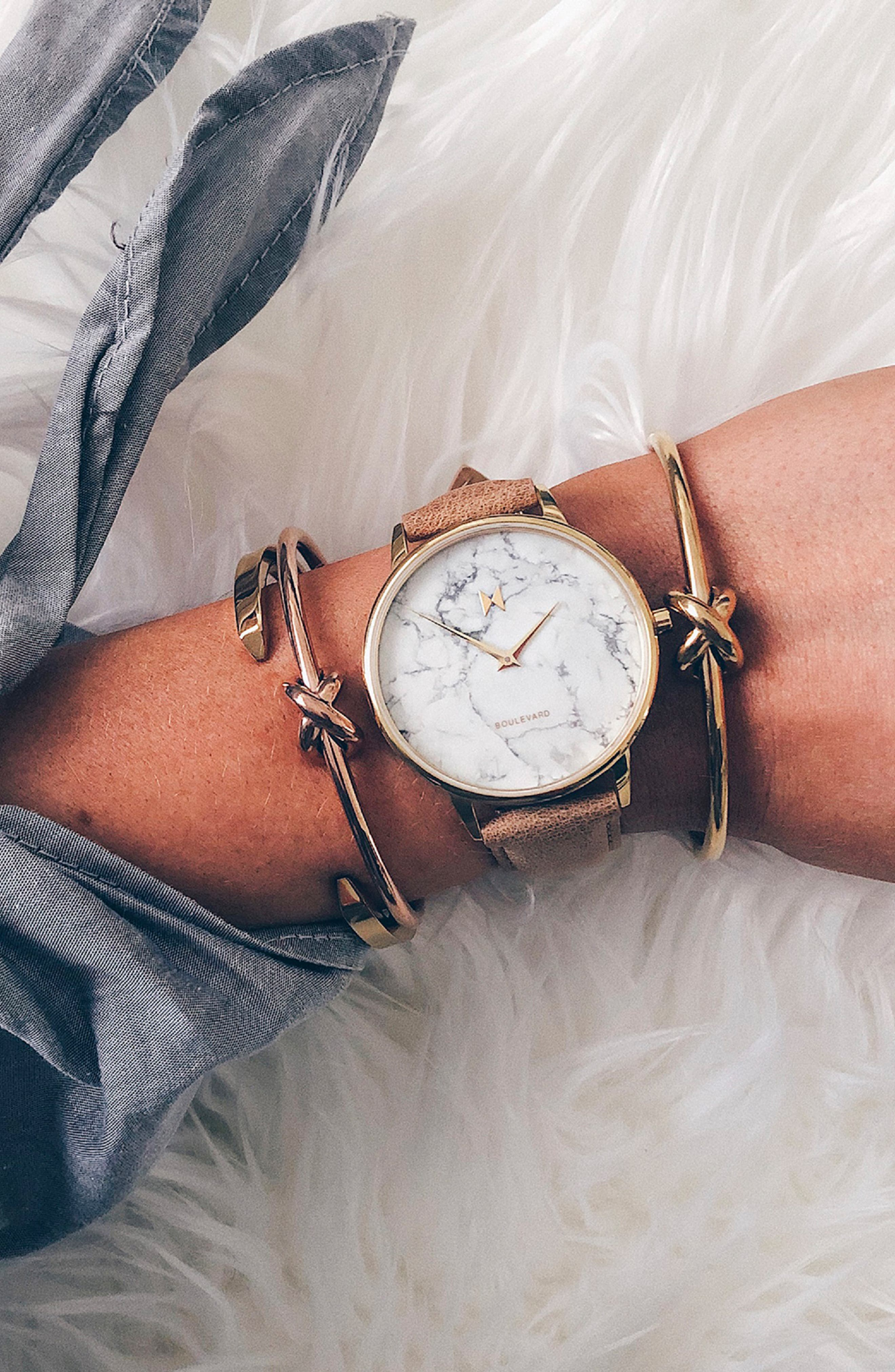 MVMT, Boulevard Leather Strap Watch, 38mm, Alternate thumbnail 2, color, CARAMEL/ WHITE MARBLE/ GOLD