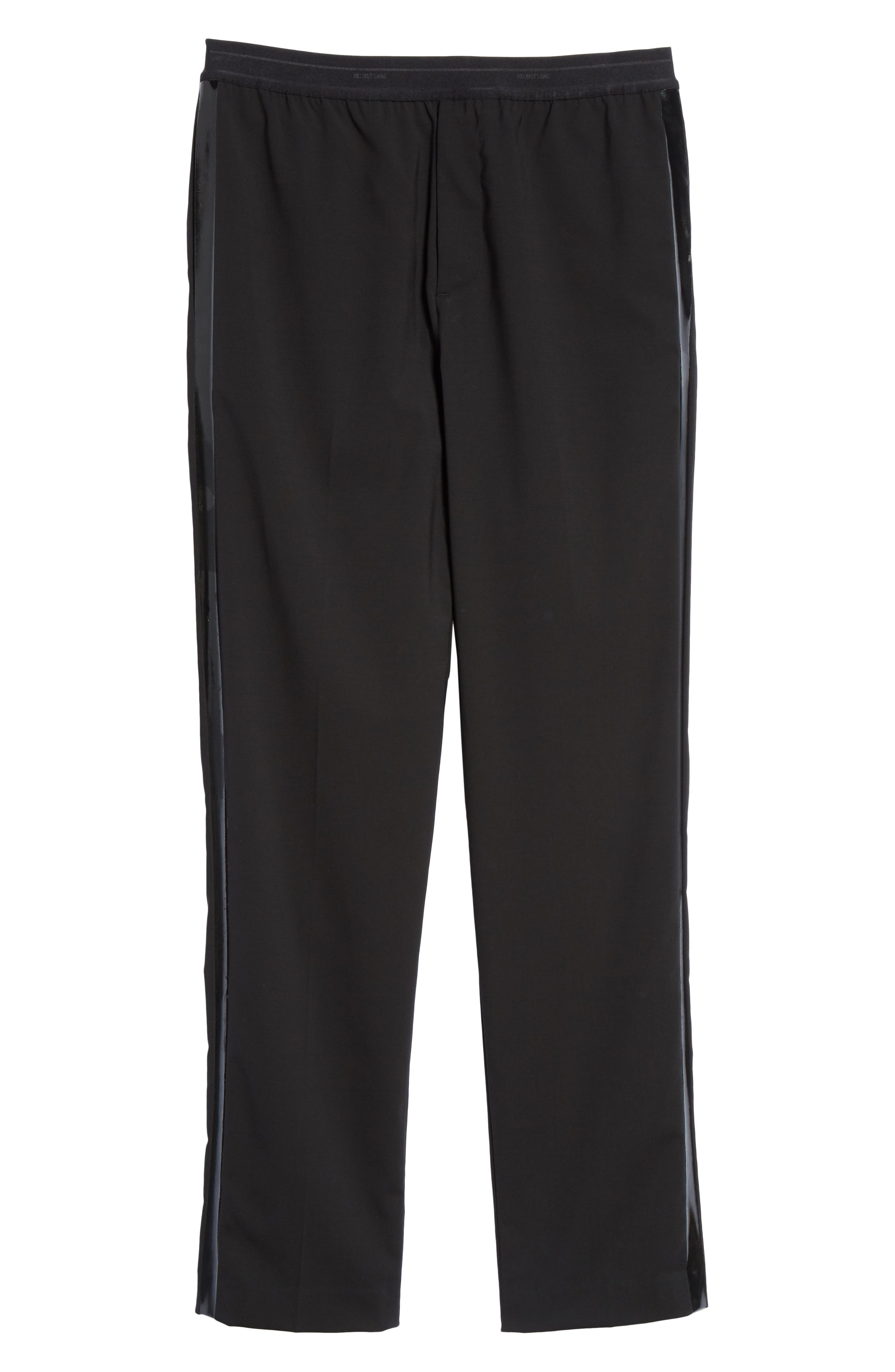HELMUT LANG, Wool Pants, Alternate thumbnail 6, color, BLACK ON BLACK