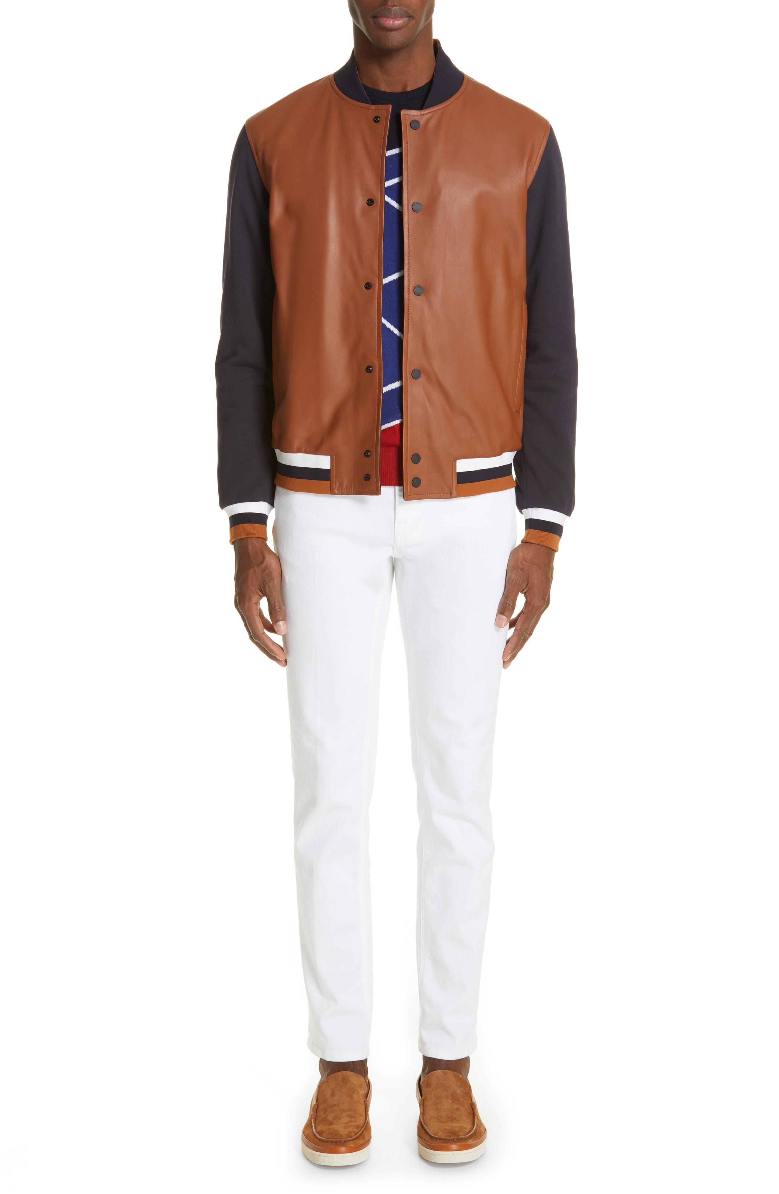 Z ZEGNA, Contrast Leather Bomber Jacket, Alternate thumbnail 7, color, NAVY/ BROWN