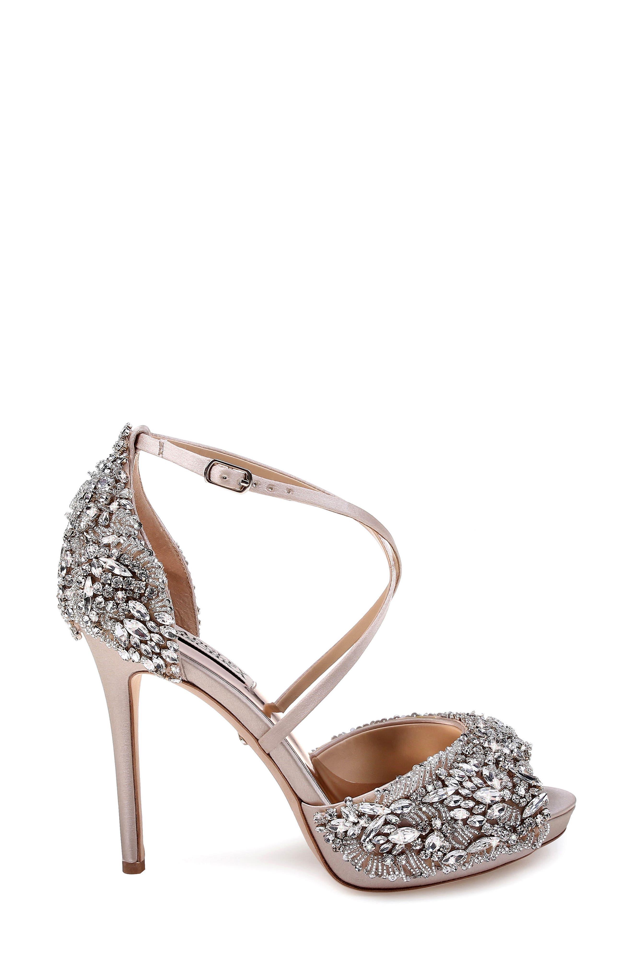 BADGLEY MISCHKA COLLECTION, Badgley Mischka Hyper Crystal Embellished Sandal, Alternate thumbnail 3, color, 100