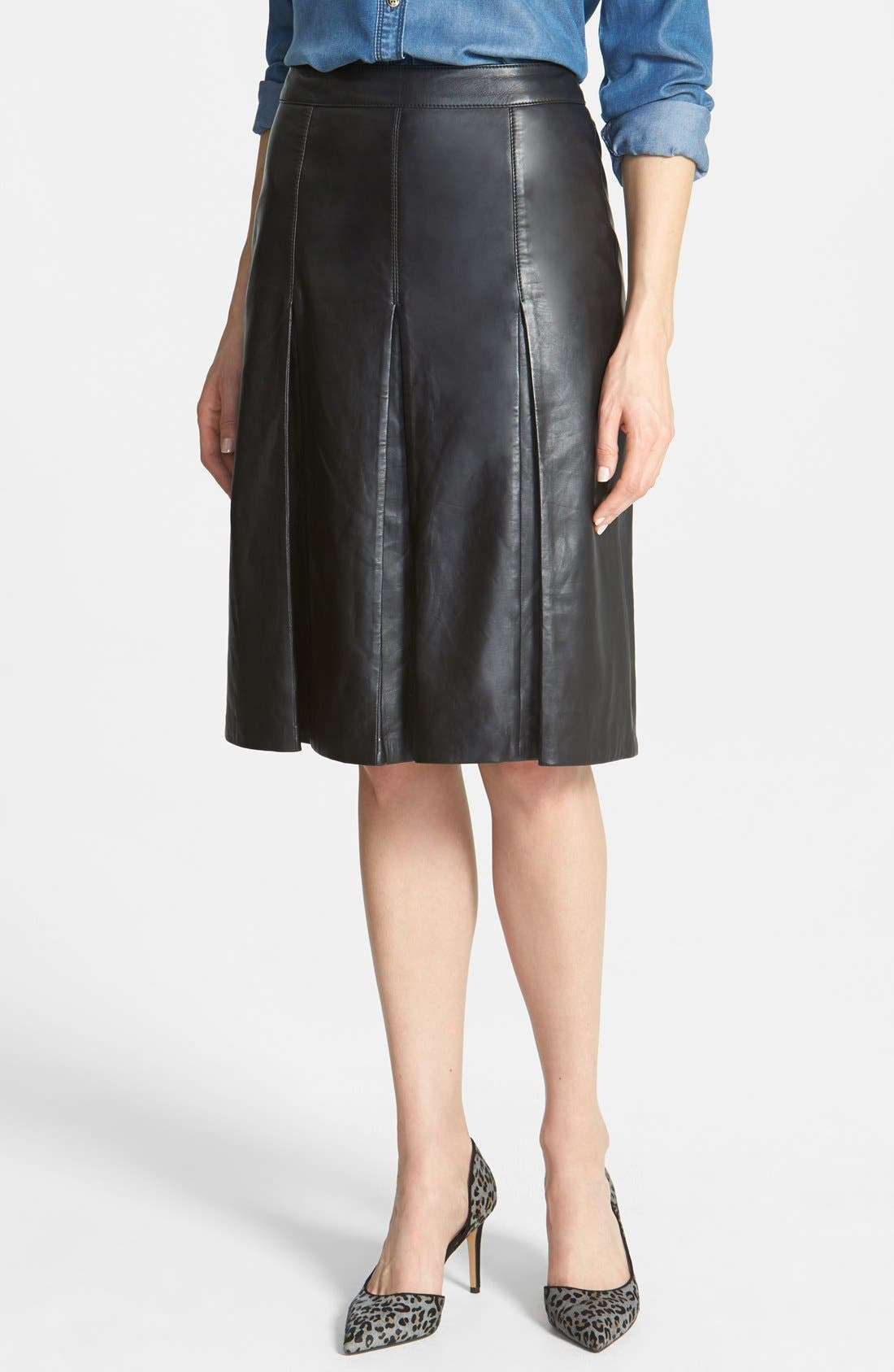 HALOGEN<SUP>®</SUP>, Pleat Leather Skirt, Main thumbnail 1, color, 001