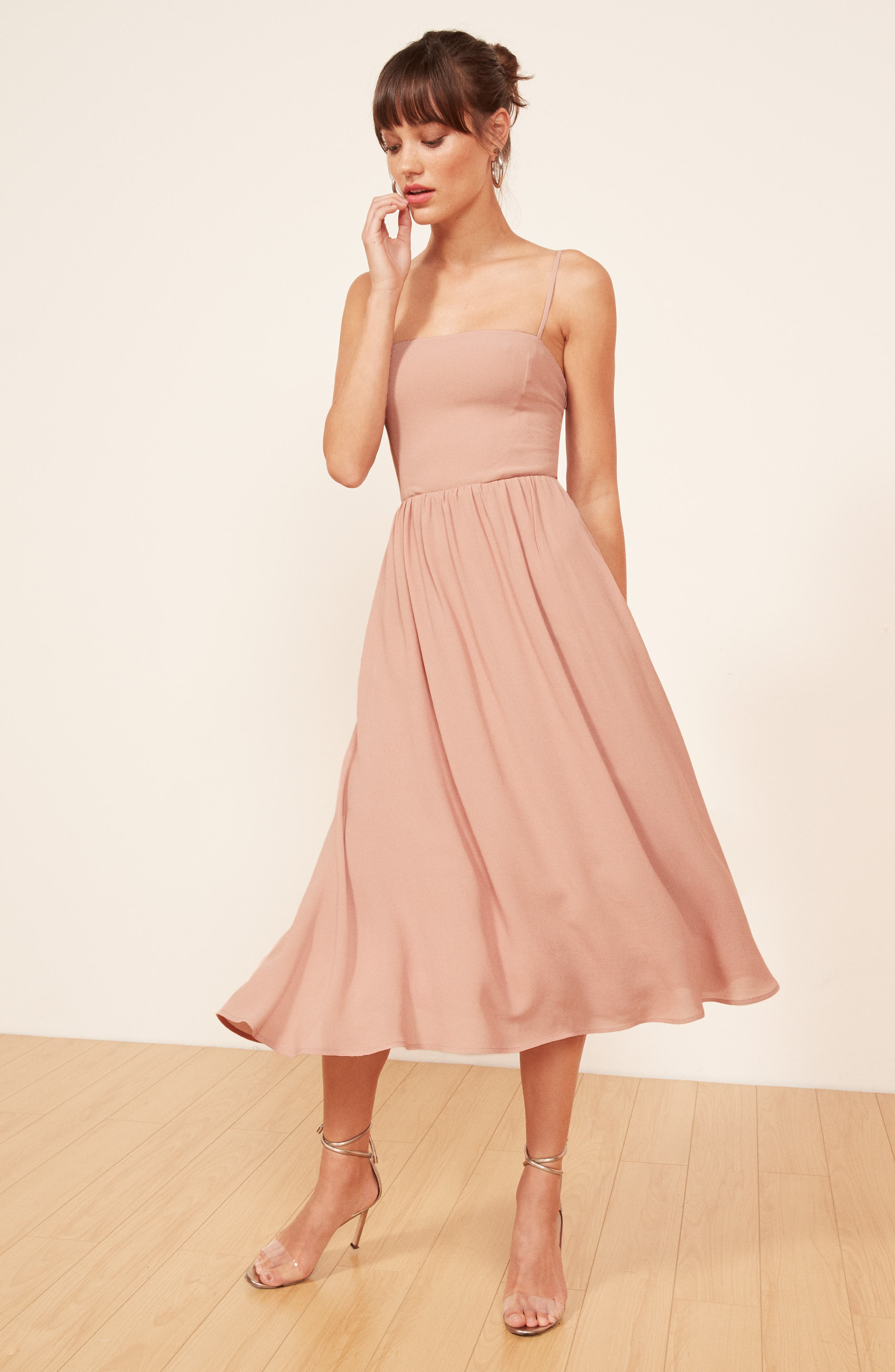 REFORMATION, Rosehip Fit & Flare Dress, Alternate thumbnail 2, color, BLUSH