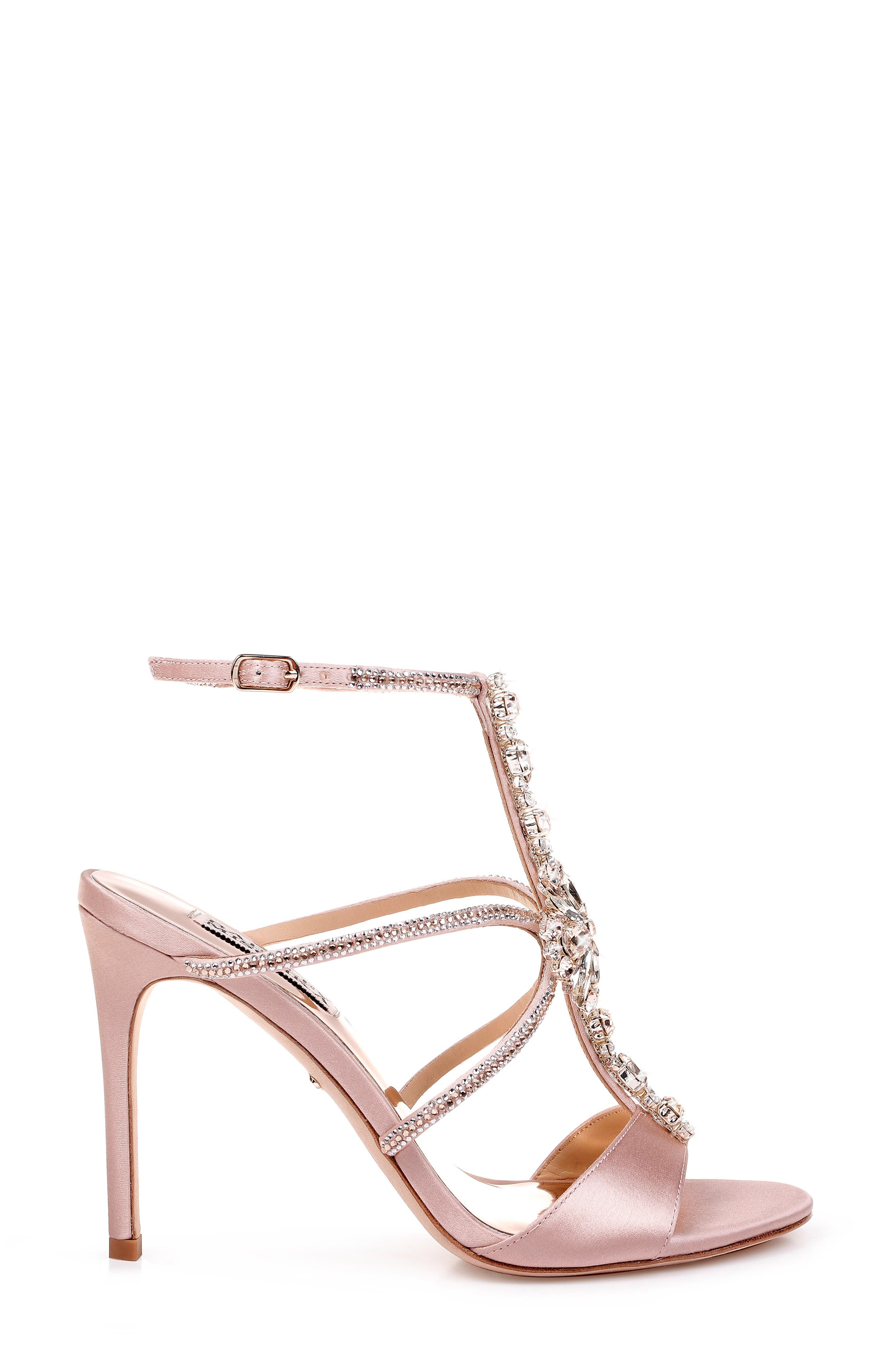 BADGLEY MISCHKA COLLECTION, Badgley Mischka Faye Ankle Strap Sandal, Alternate thumbnail 3, color, SOFT BLUSH SATIN