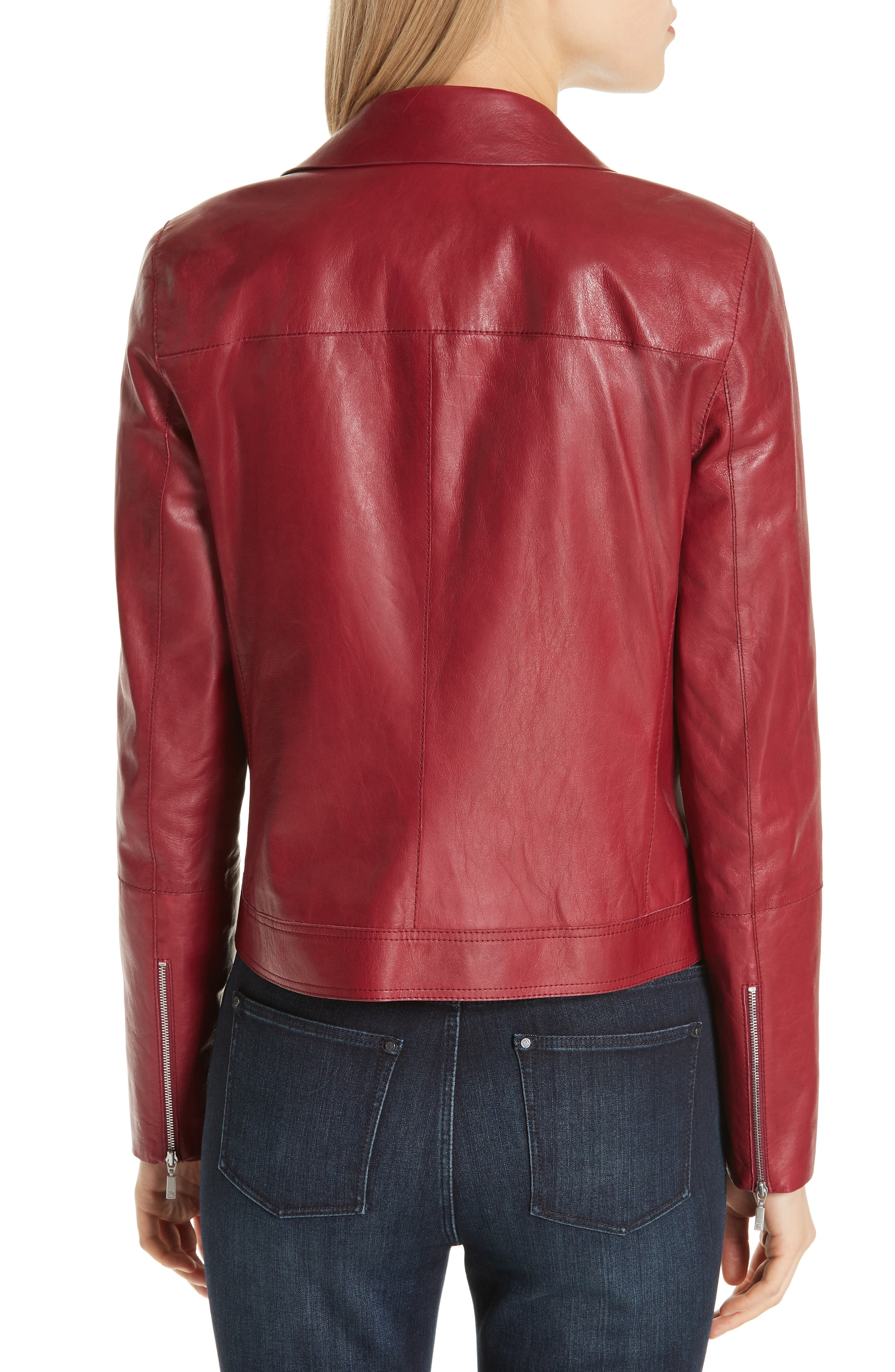 LAFAYETTE 148 NEW YORK, Marykate Leather Moto Jacket, Alternate thumbnail 2, color, 600