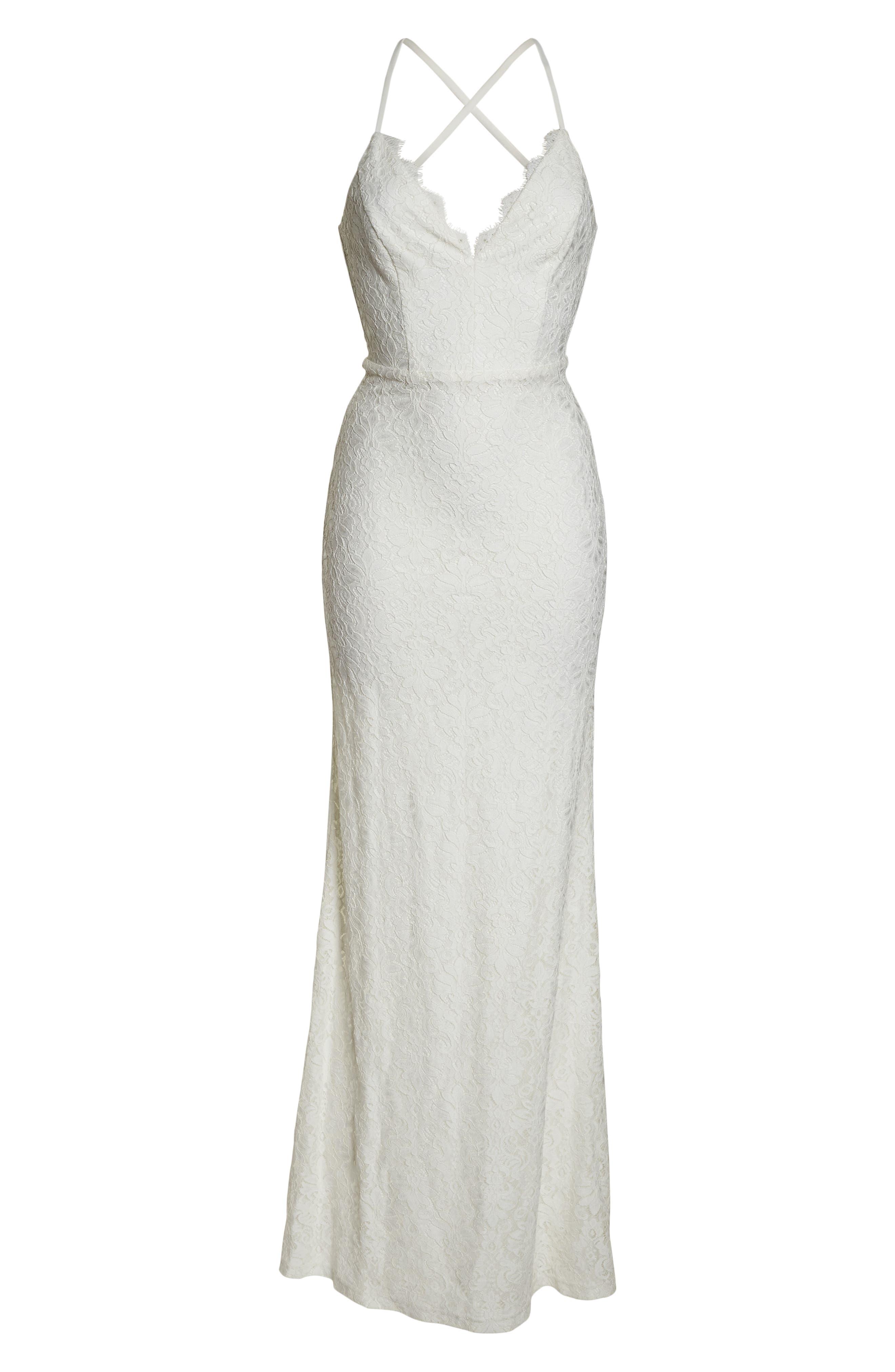 LULUS, Alice Crisscross Back Gown, Alternate thumbnail 7, color, WHITE/ WHITE