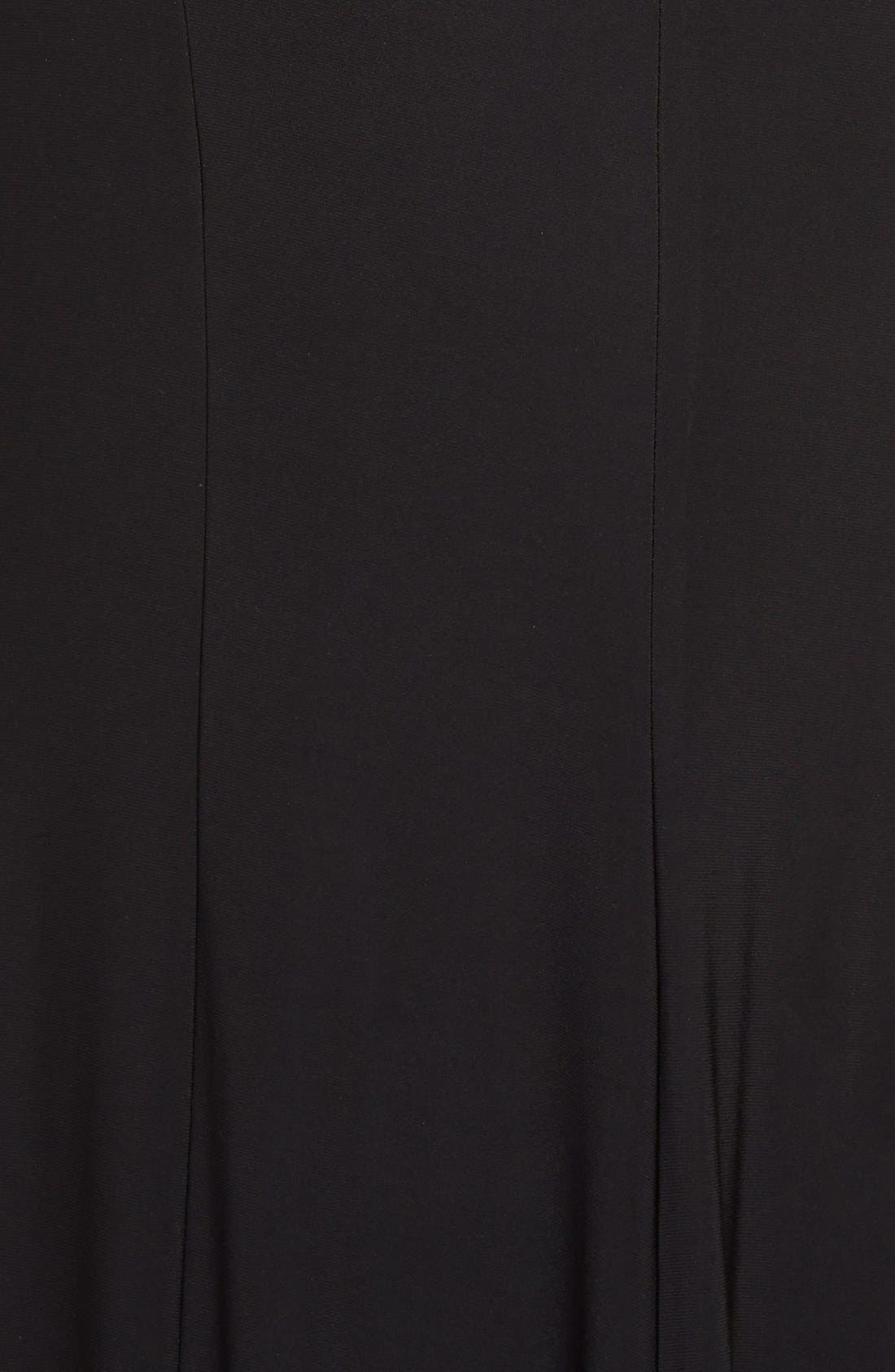 XSCAPE, Embellished Jersey Gown, Alternate thumbnail 9, color, BLACK/ NUDE/ SILVER