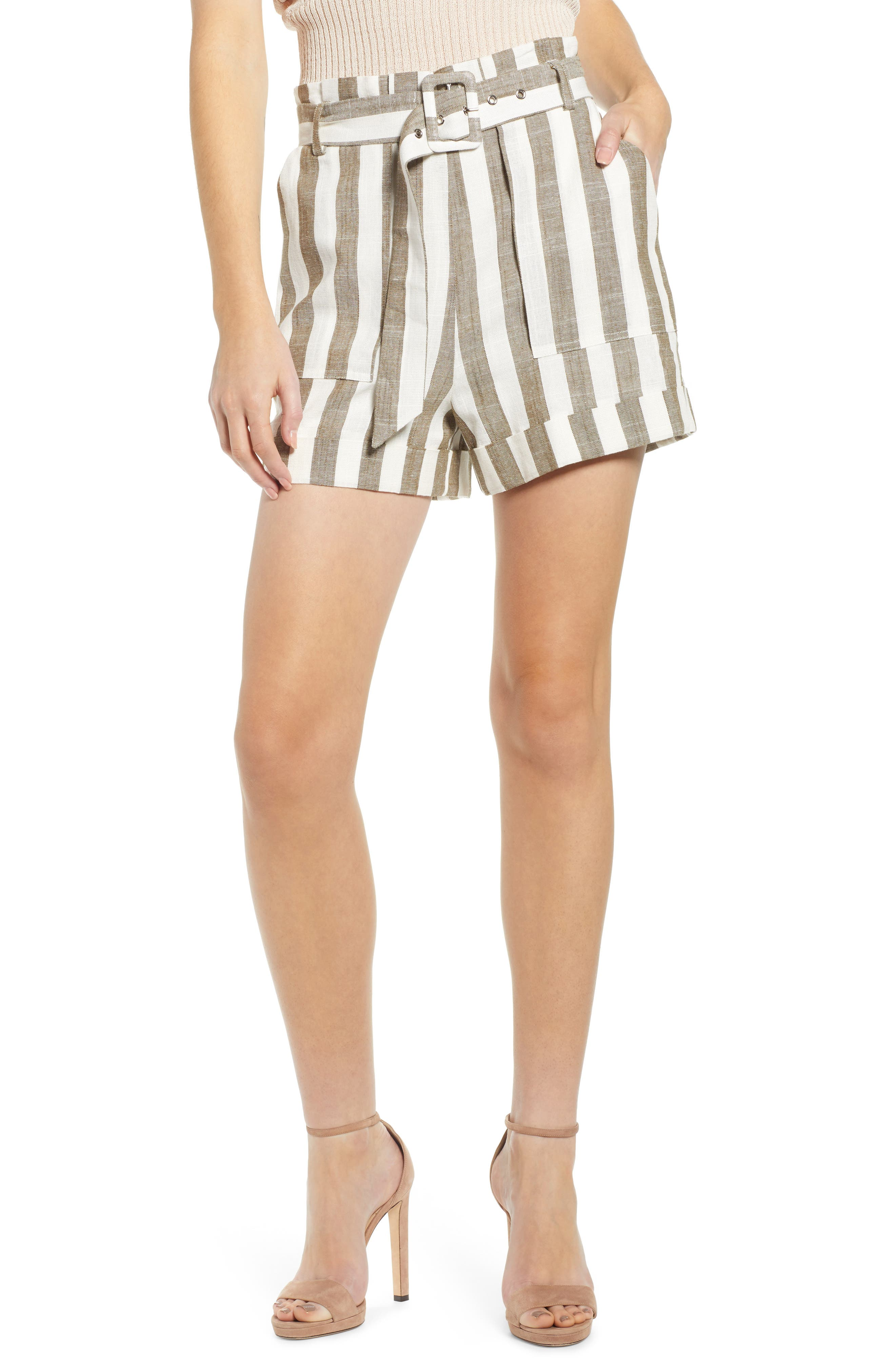 CHRISELLE LIM COLLECTION Chriselle Lim Cherie Shorts, Main, color, OLIVE STRIPE