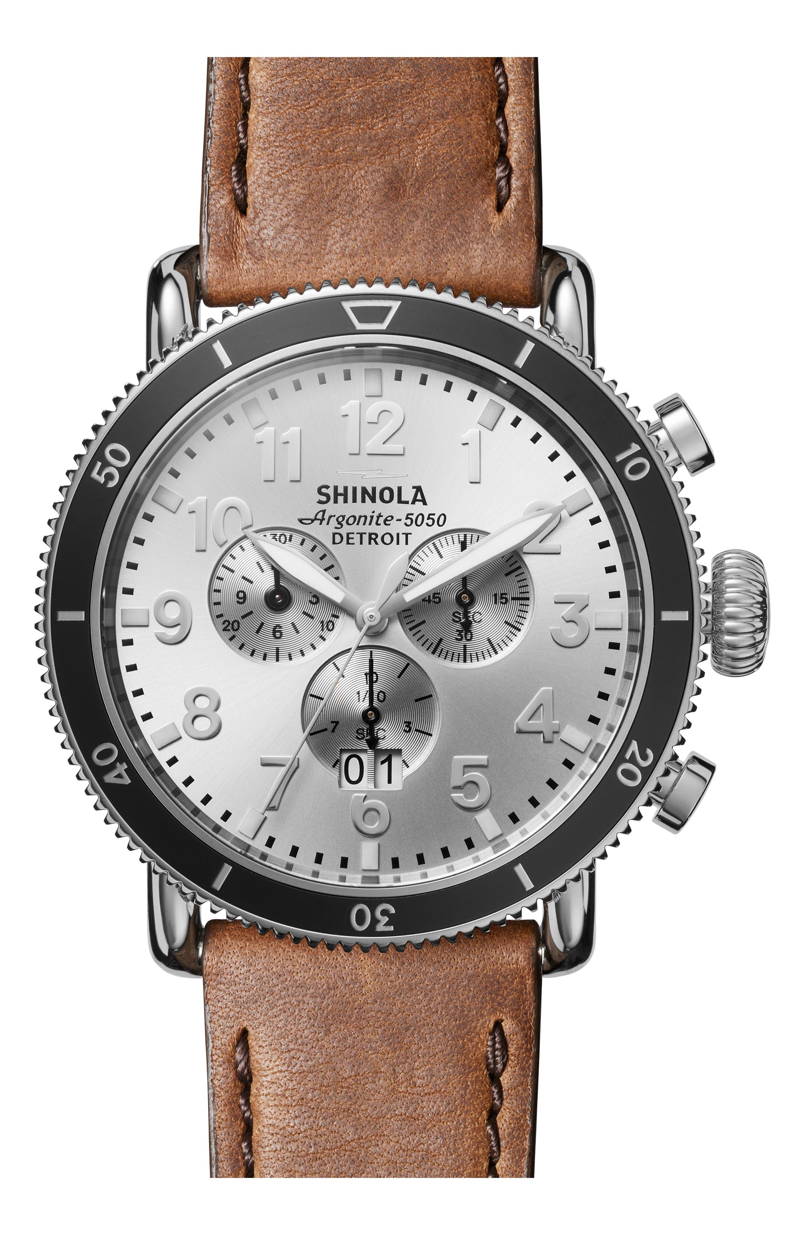 SHINOLA The Runwell Sport Chronograph Watch, 48mm, Main, color, BRITISH TAN/ SILVER SUNRAY