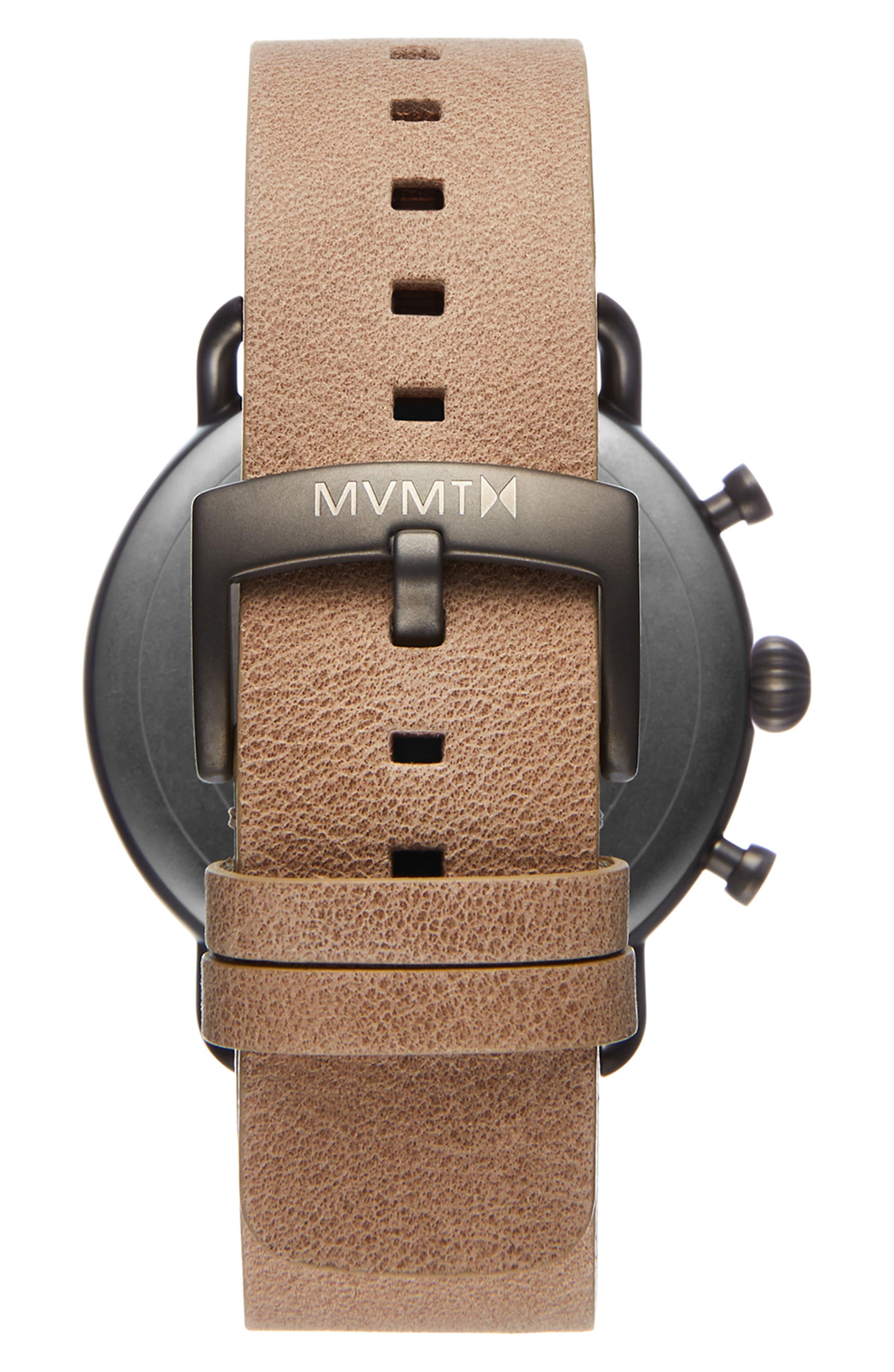 MVMT, Blacktop Chronograph Leather Strap Watch, Alternate thumbnail 2, color, GREEN/ SANDSTONE