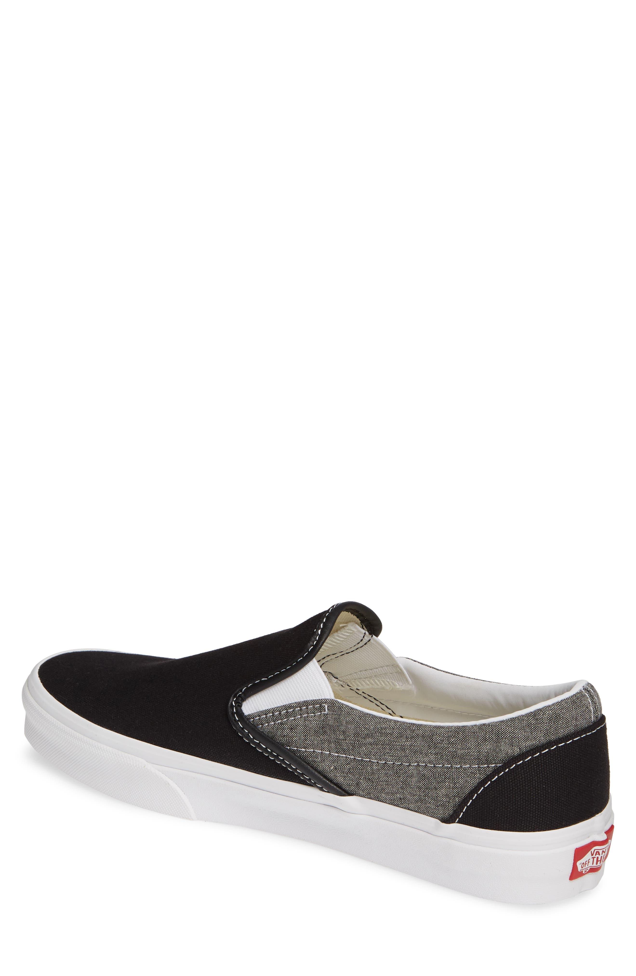 VANS, 'Classic' Slip-On Sneaker, Alternate thumbnail 2, color, CANVAS BLACK/ WHITE CHAMBRAY