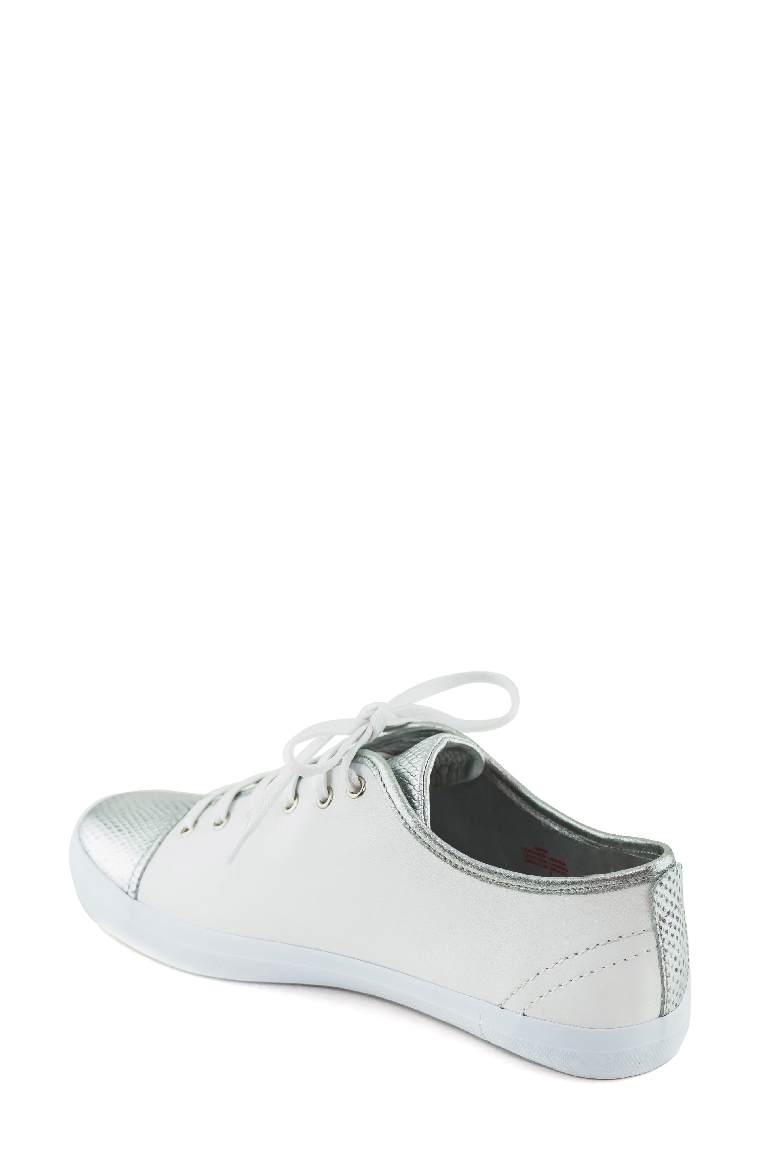 MARC JOSEPH NEW YORK, Bleecker Street Sneaker, Alternate thumbnail 2, color, WHITE/ GIPSY SILVER LEATHER
