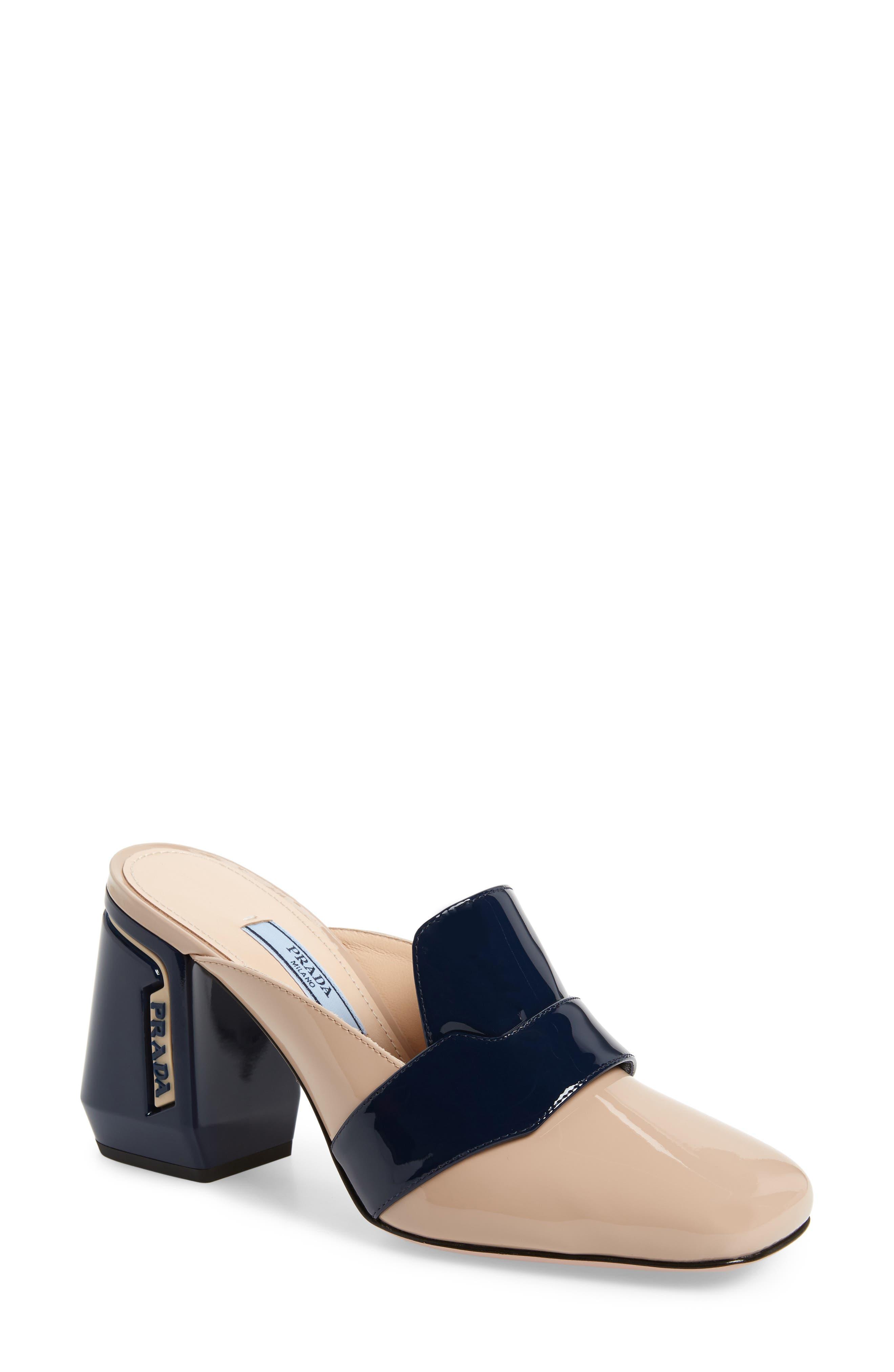 PRADA Block Heel Loafer Mule, Main, color, BEIGE/ NAVY