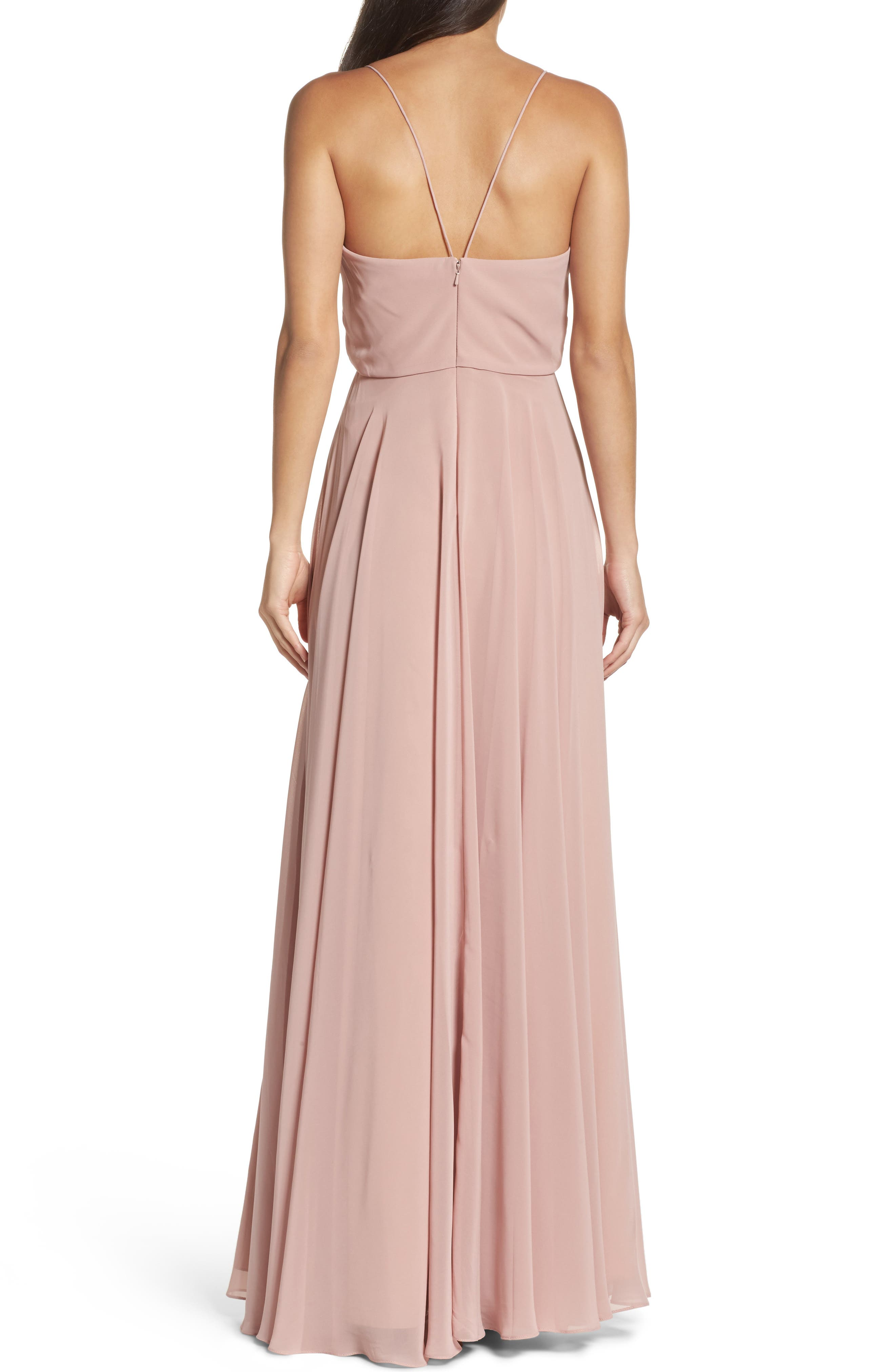 JENNY YOO, Inesse Chiffon V-Neck Spaghetti Strap Gown, Alternate thumbnail 2, color, WHIPPED APRICOT