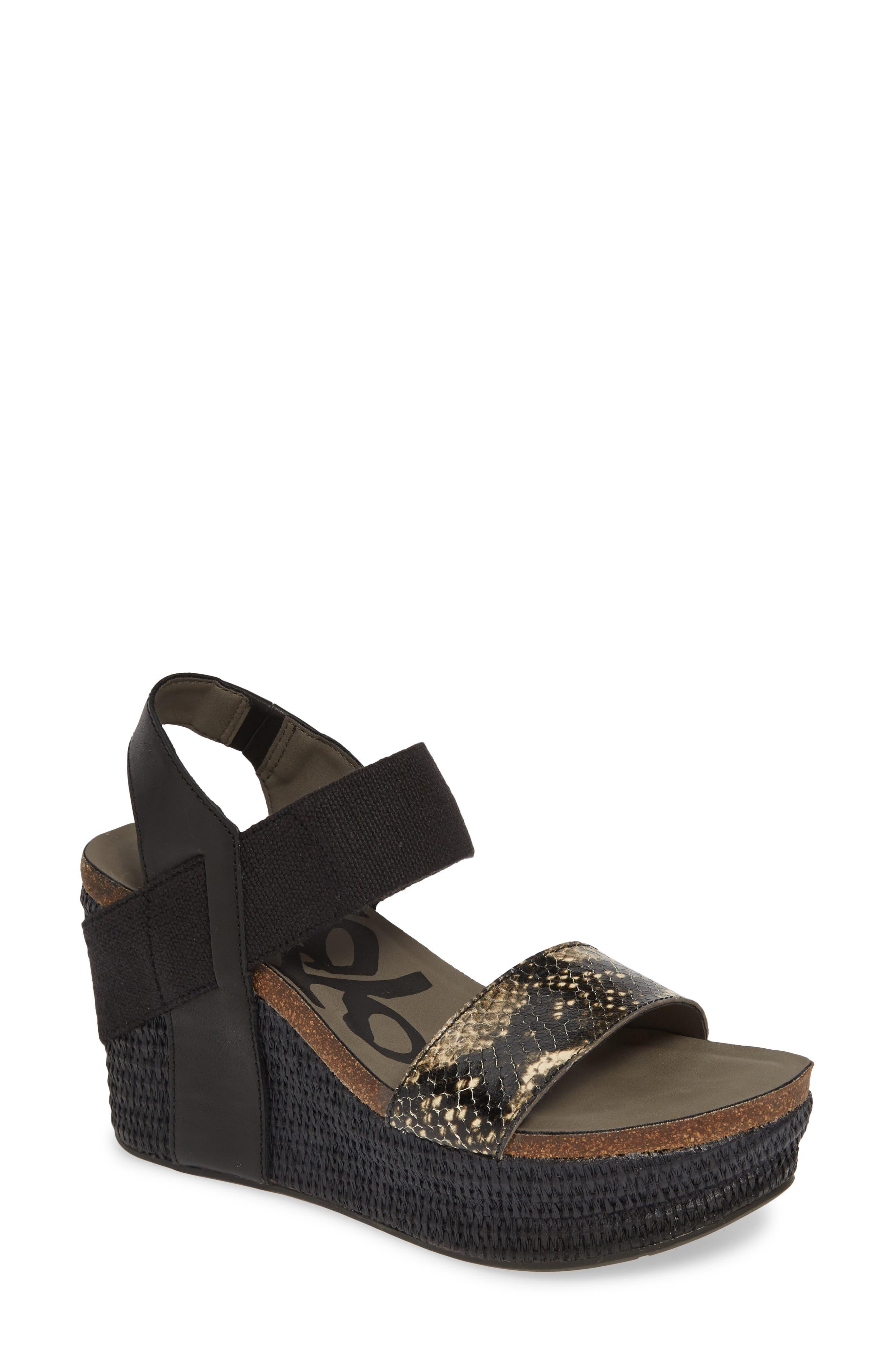 OTBT, 'Bushnell' Wedge Sandal, Main thumbnail 1, color, BLACK/ BLACK LEATHER