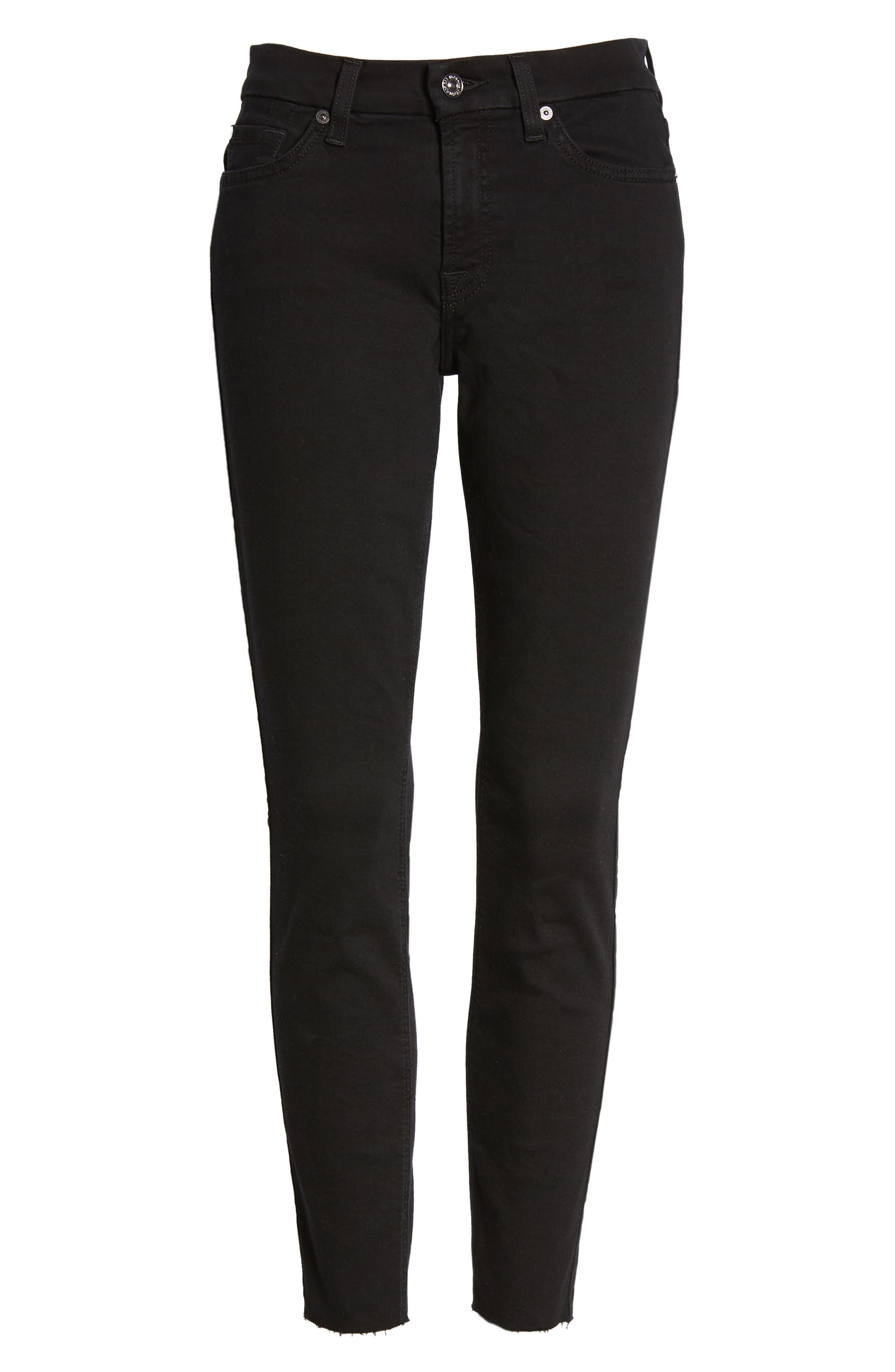 7 FOR ALL MANKIND<SUP>®</SUP>, b(air) Raw Hem Crop Skinny Jeans, Alternate thumbnail 7, color, BAIR BLACK