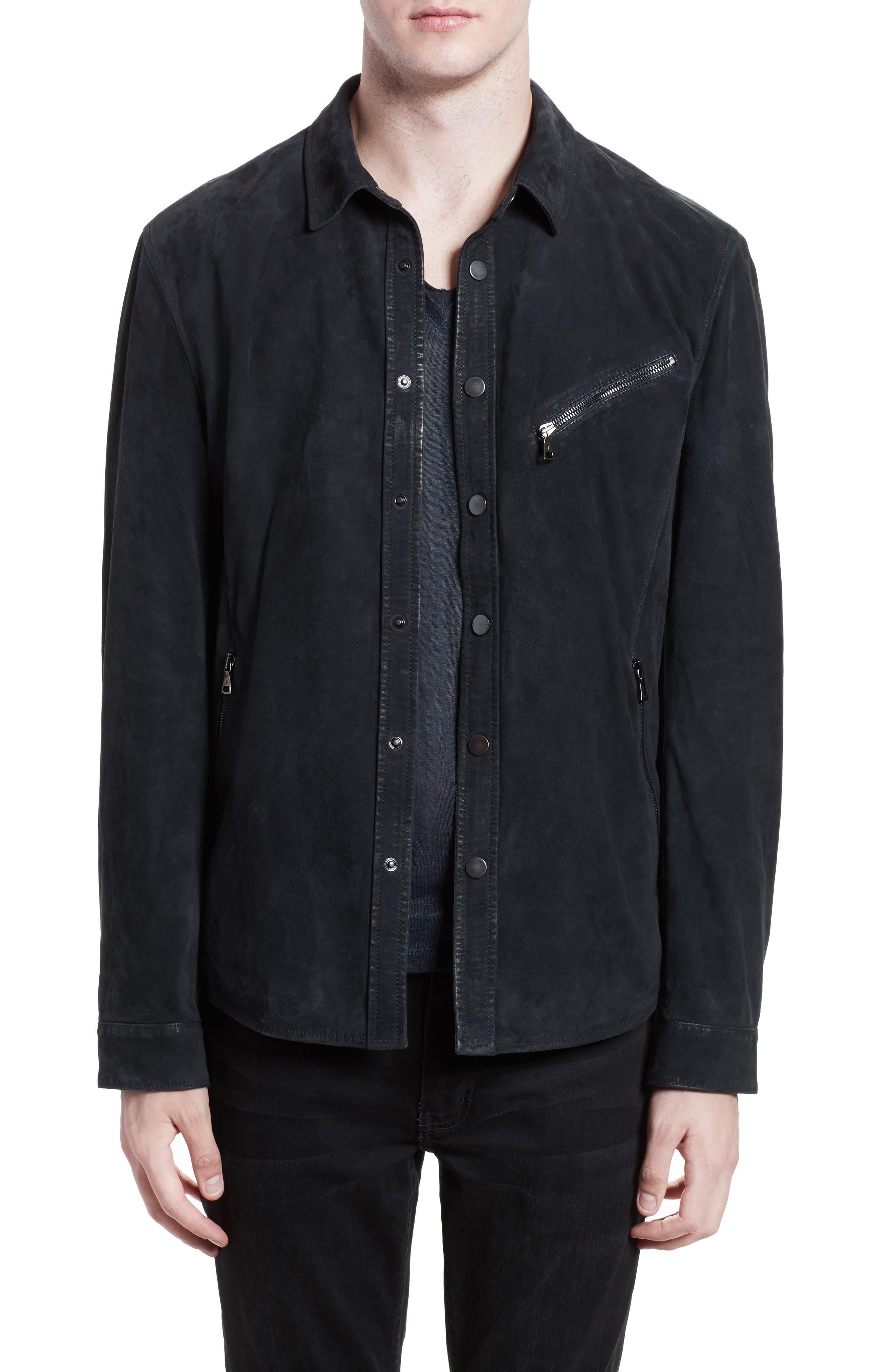 JOHN VARVATOS, Suede Shirt Jacket, Main thumbnail 1, color, MIDNIGHT
